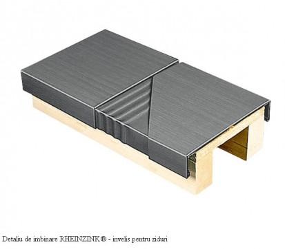 Detaliu de imbinare - invelis pentru ziduri RHEINZINK® Tabla plana pentru invelitori titan zinc