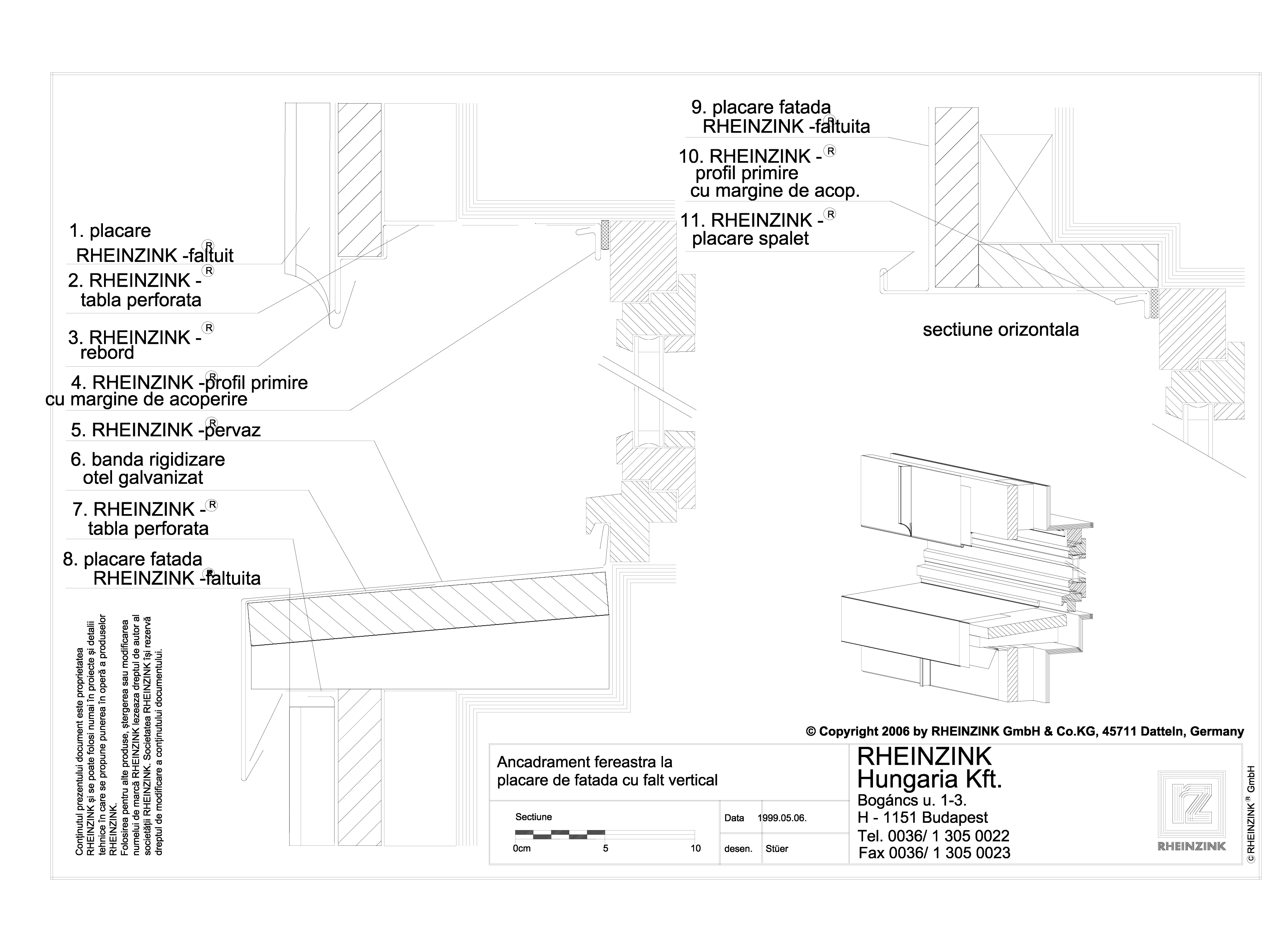 Pagina 1 - CAD-DWG Ancadrament fereastra la placarea de fatada cu falt vertical RHEINZINK Detaliu de...
