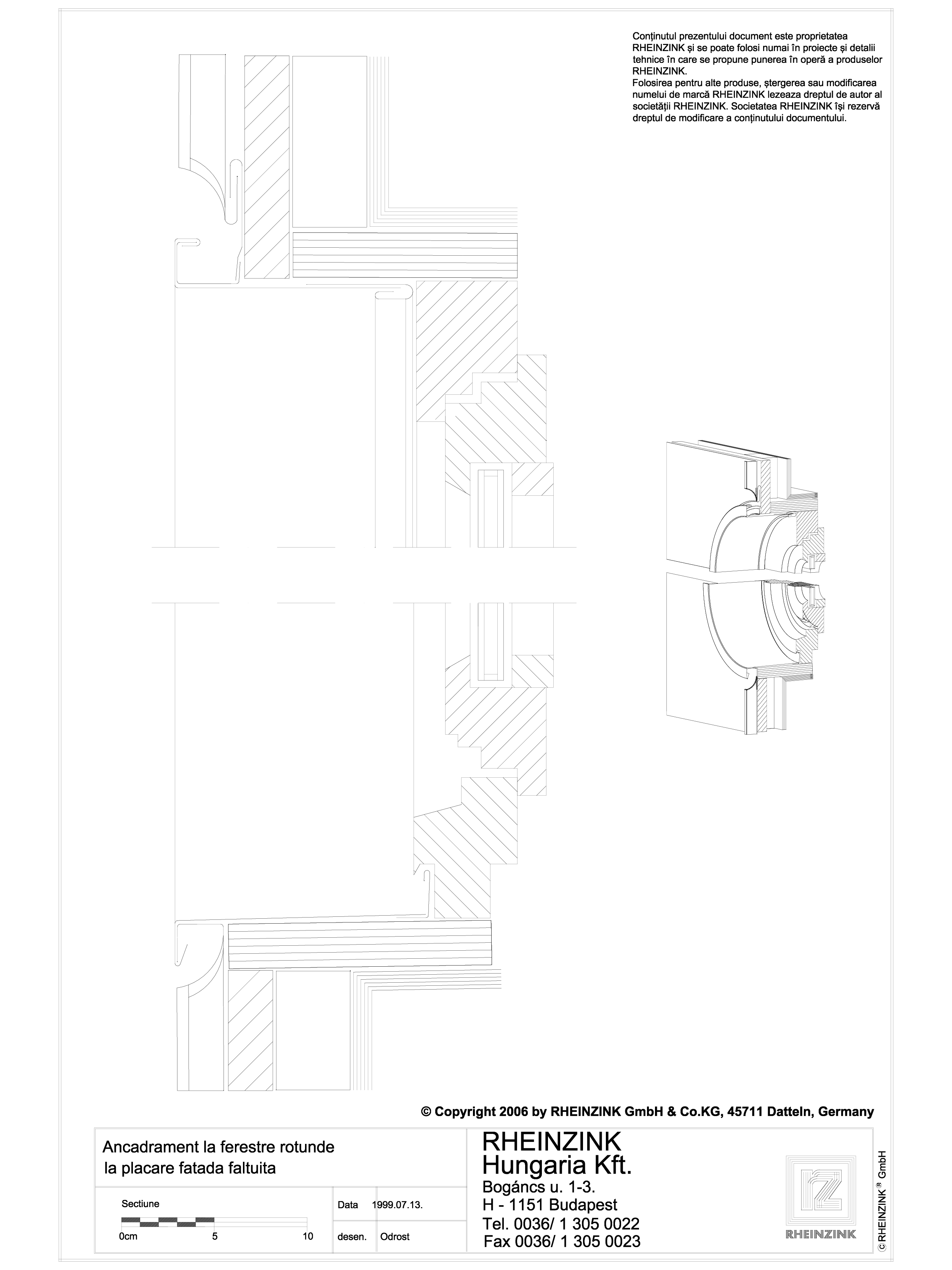 Pagina 1 - CAD-DWG Ancadrament la fereastre rotunde la placare fatada faltuita RHEINZINK Detaliu de ...