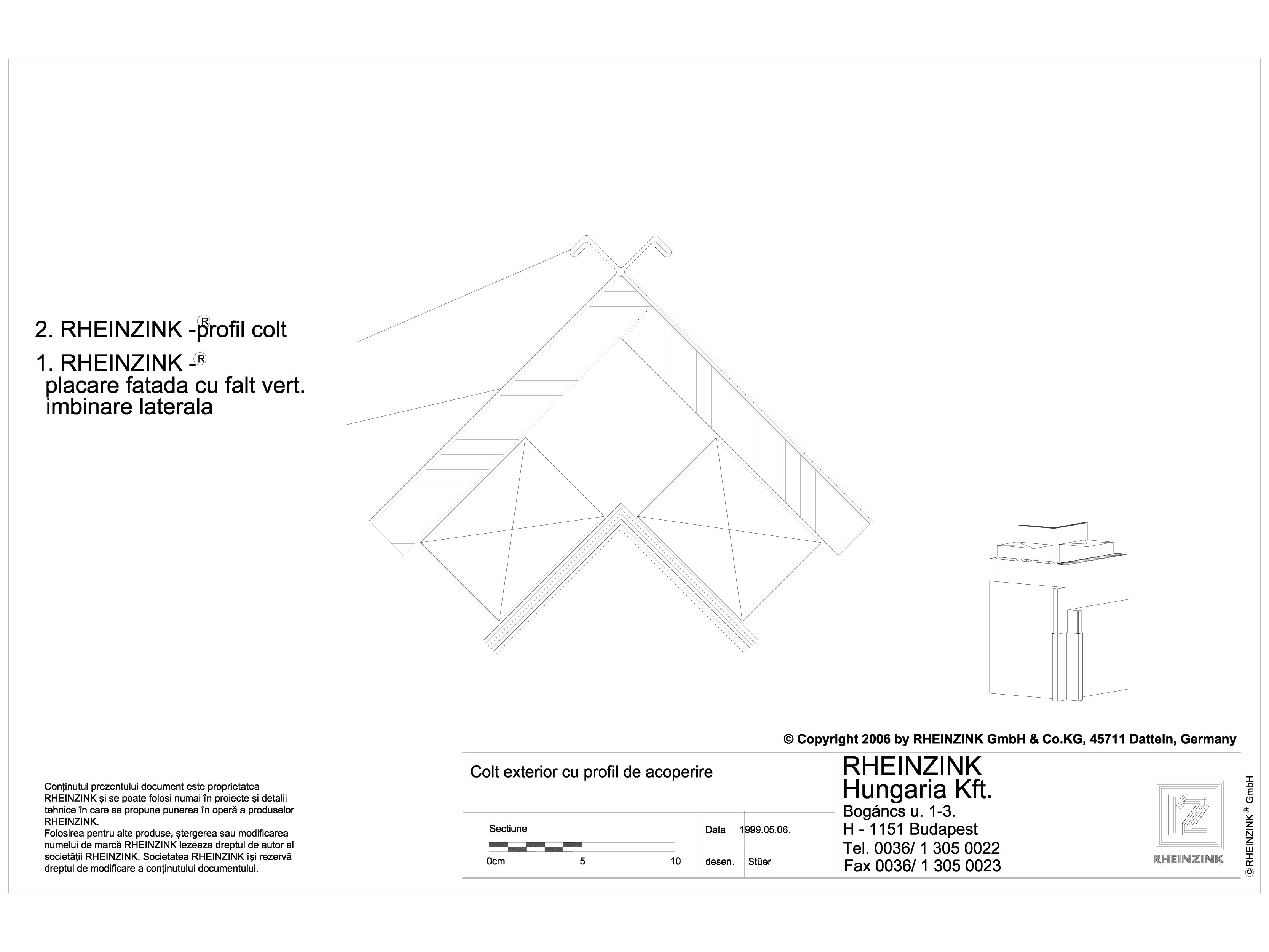 Pagina 1 - CAD-DWG Colt exterior cu profil de acoperire RHEINZINK Detaliu de montaj orizontale,...