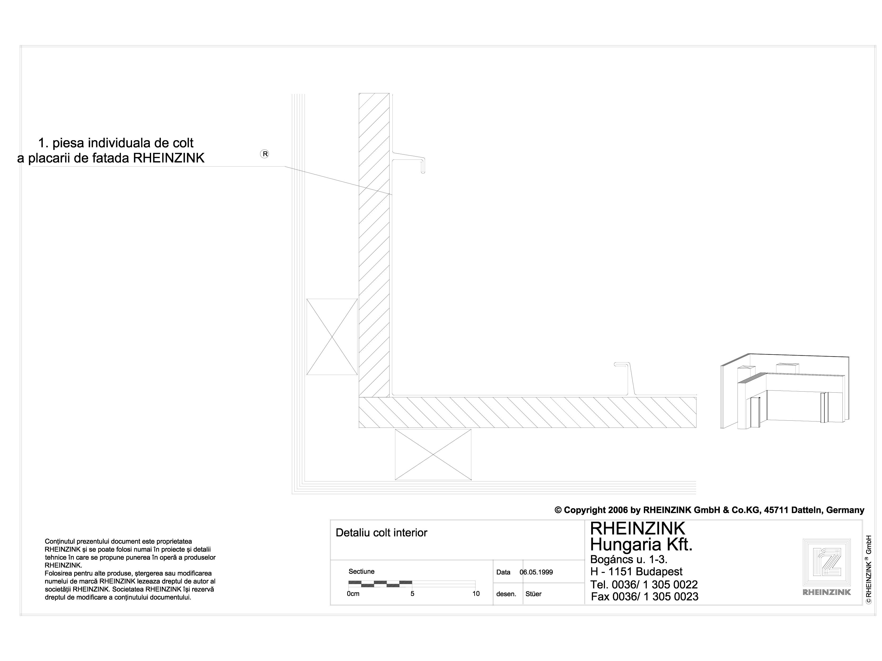 Pagina 1 - CAD-DWG Detaliu colt interior RHEINZINK Detaliu de montaj orizontale, Steckfalz, Stulp,...