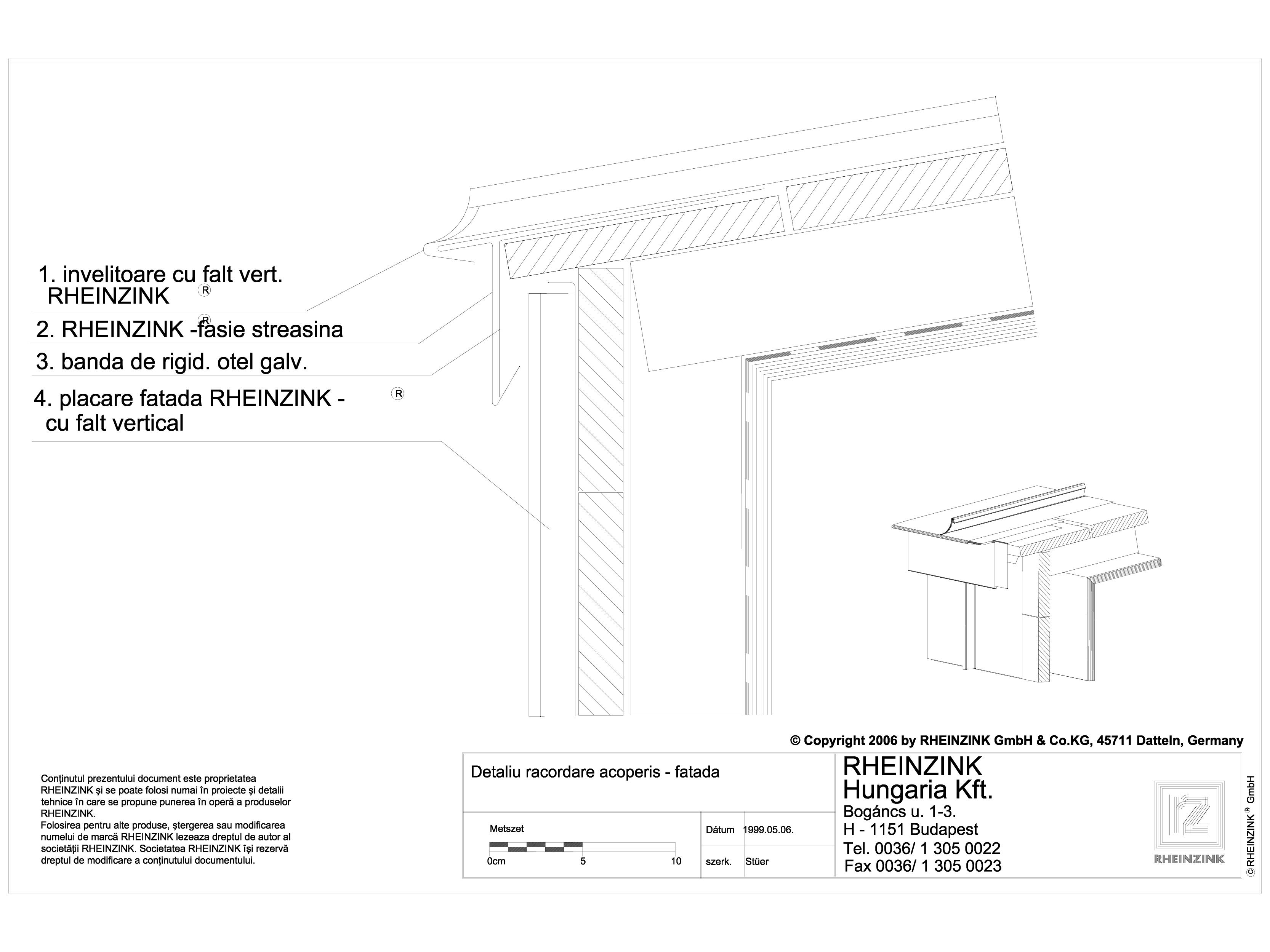 Pagina 1 - CAD-DWG Detaliu racordare acoperis - fatada RHEINZINK Detaliu de montaj orizontale,...