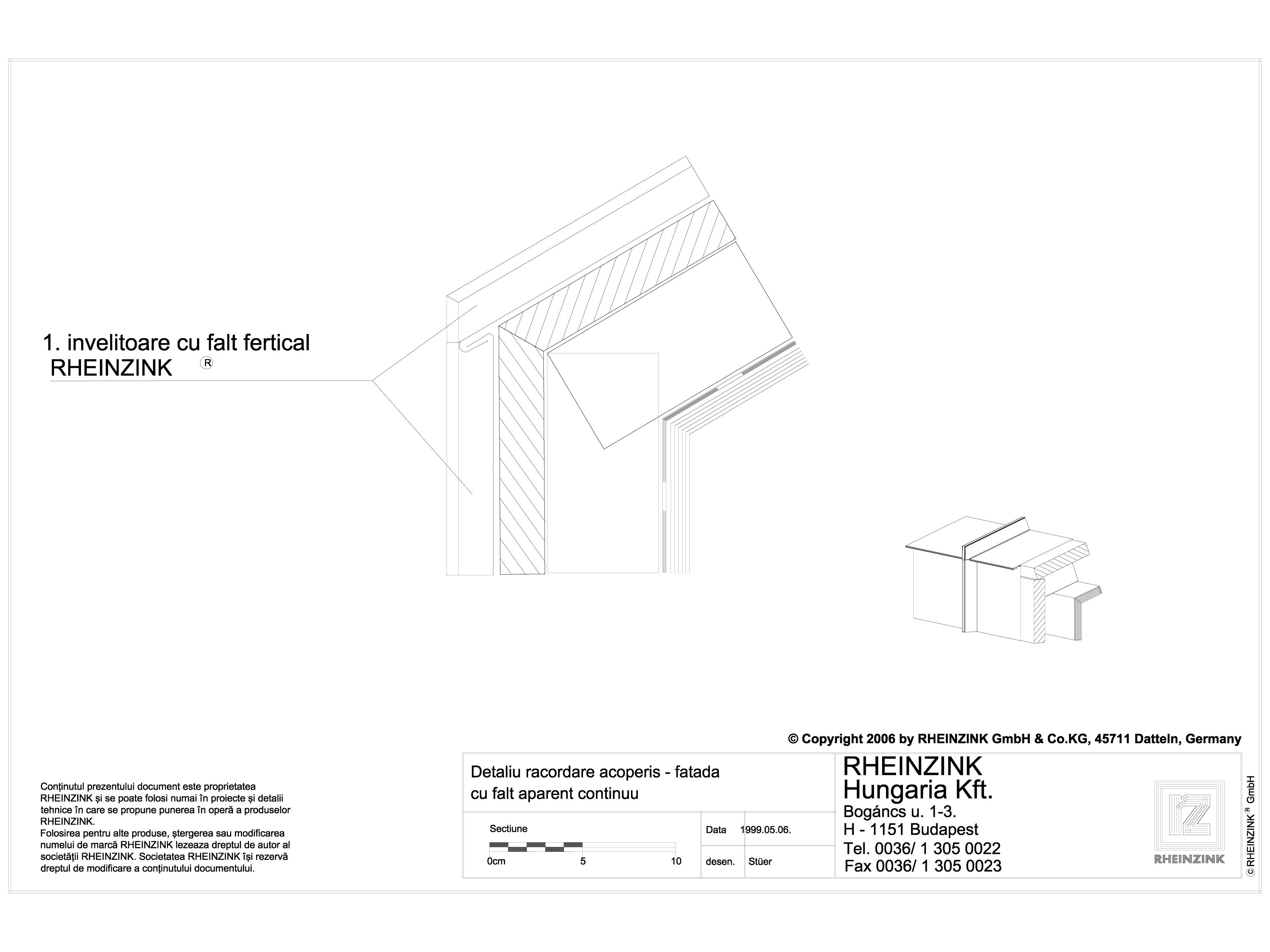 Pagina 1 - CAD-DWG Detaliu racordare acoperis - fatada cu falt aparent continuu RHEINZINK Detaliu de...