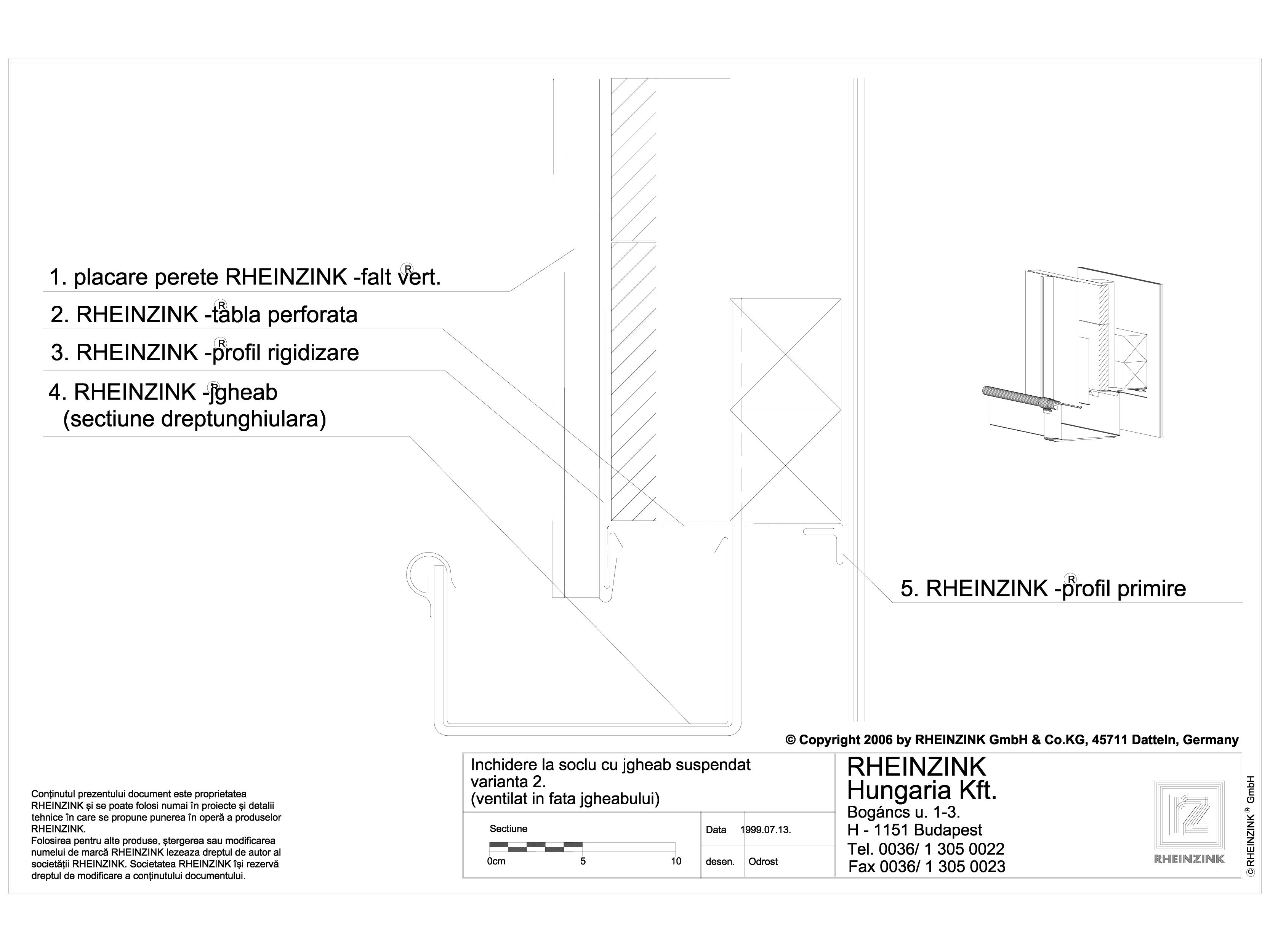 Pagina 1 - CAD-DWG Inchidere la soclu cu jgheab suspendat varianta 2 RHEINZINK Detaliu de montaj...