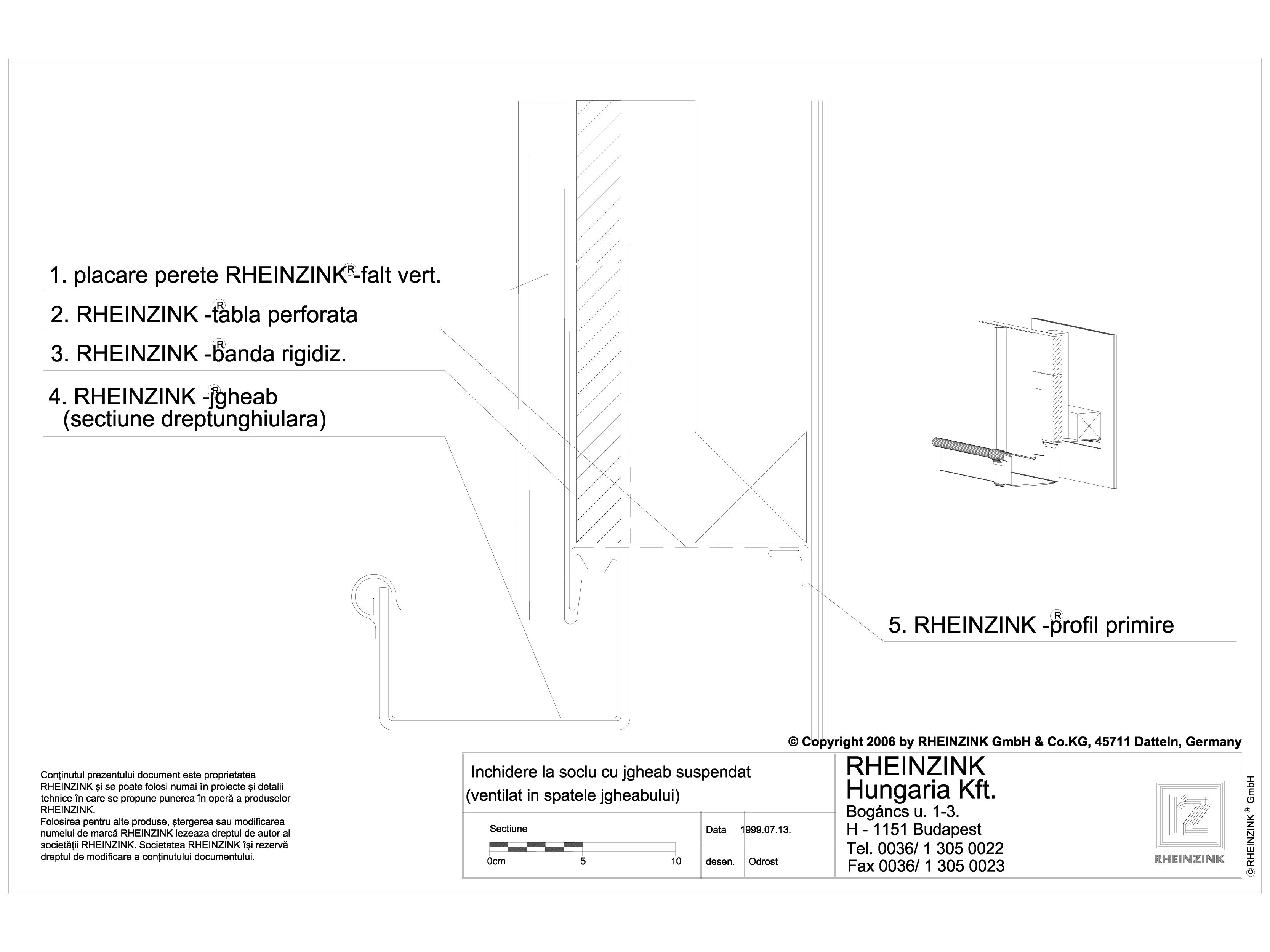 Pagina 1 - CAD-DWG Inchidere la soclu cu jgheab suspendat ventilat in spatele jgheabului RHEINZINK...
