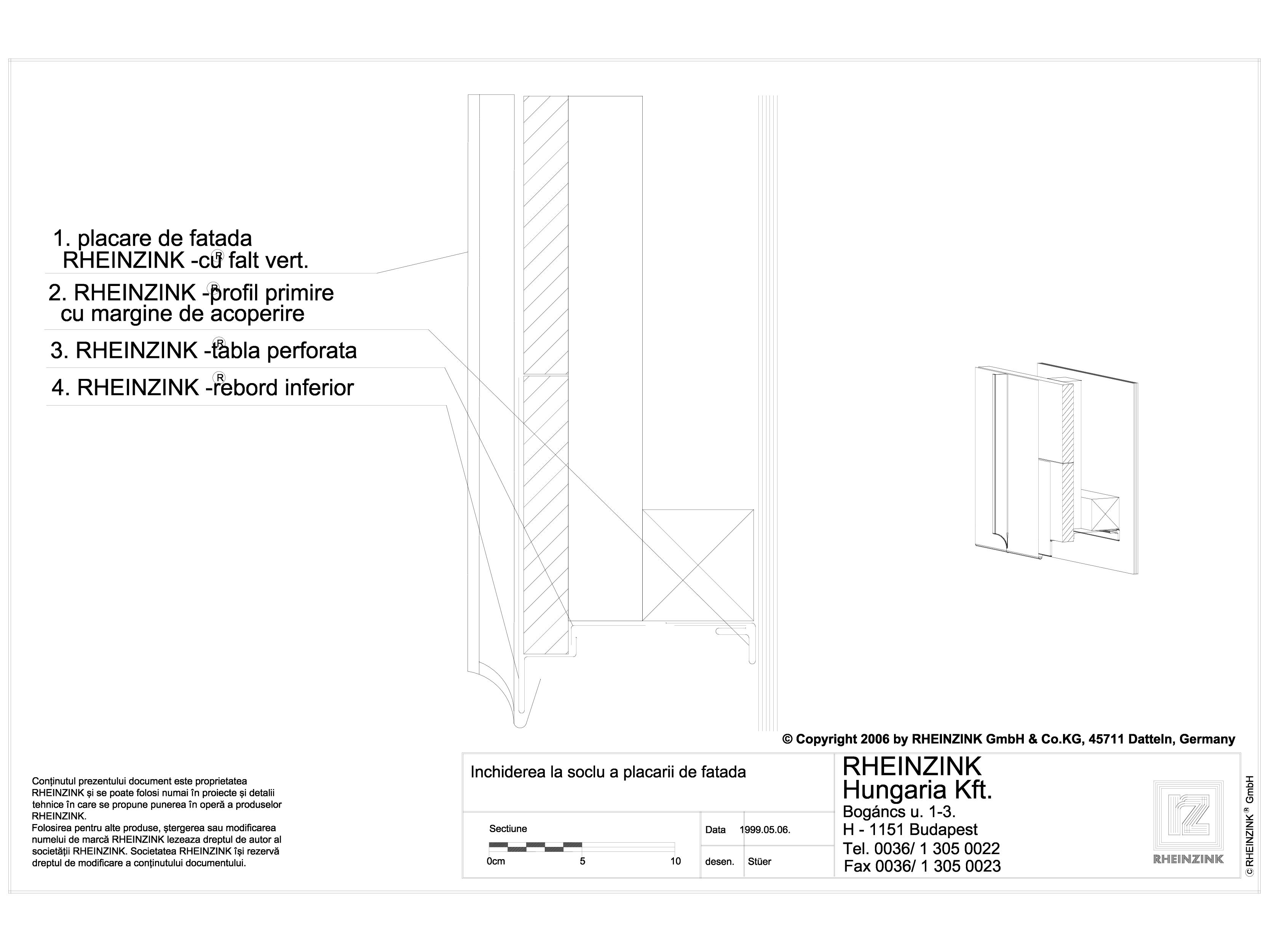 Pagina 1 - CAD-DWG Inchiderea la soclu a placarii de fatada RHEINZINK Detaliu de montaj orizontale, ...