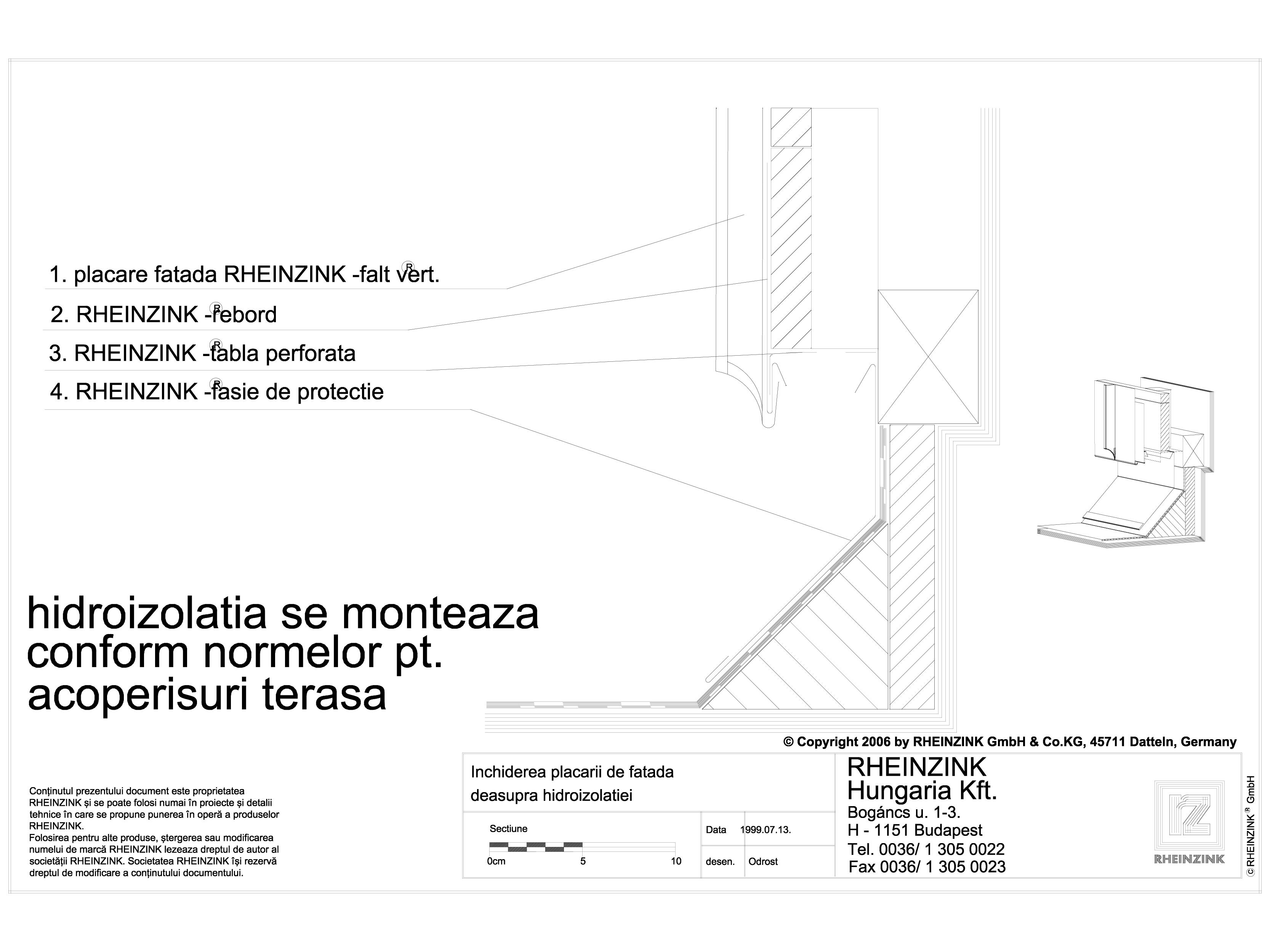Pagina 1 - CAD-DWG Inchiderea placarii de fatada deasupra hidroizolatiei RHEINZINK Detaliu de montaj...