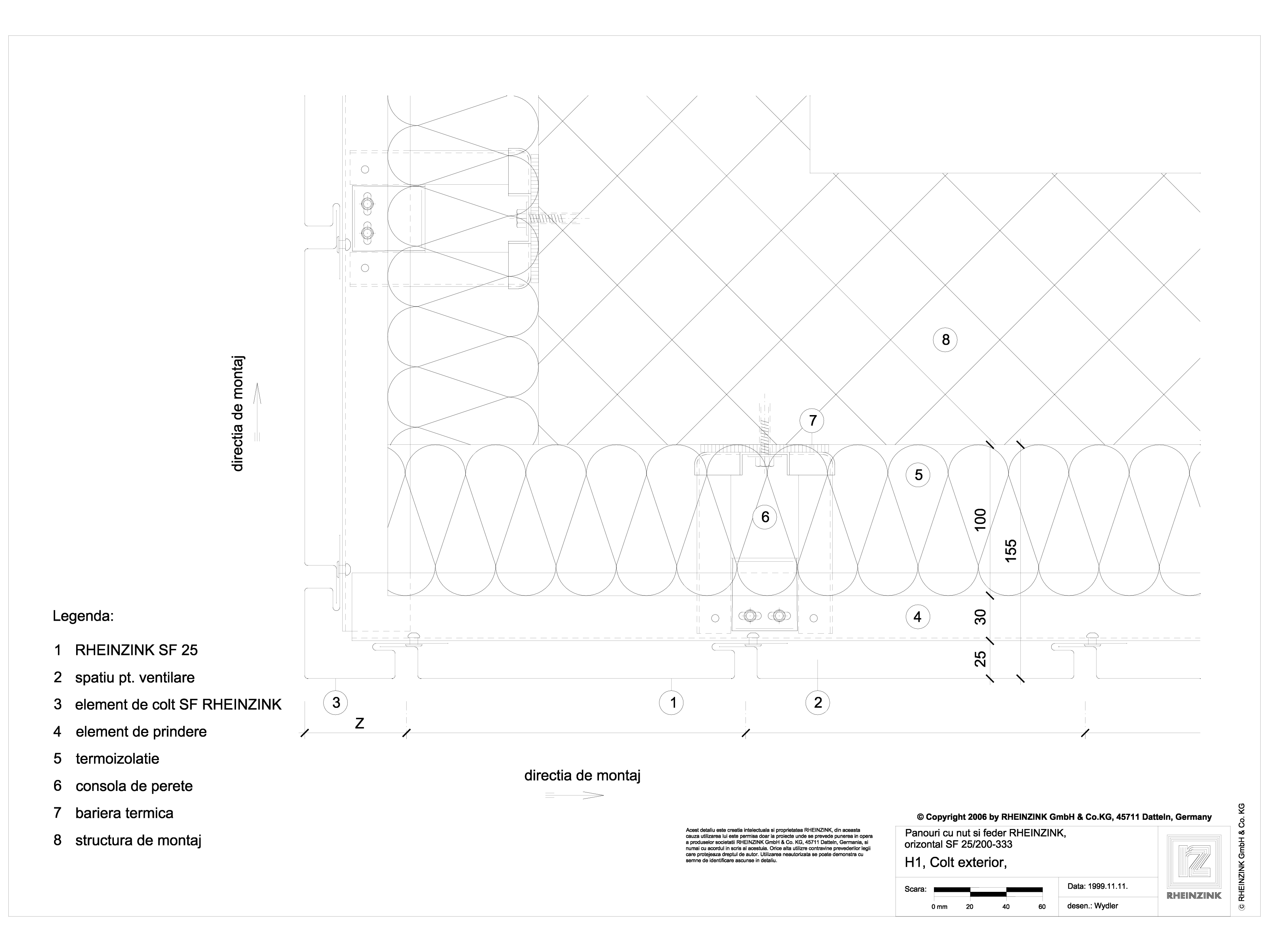 Pagina 1 - CAD-DWG Panou cu nut si feder - H1 Colt exterior cu element de colt in planul peretelui...
