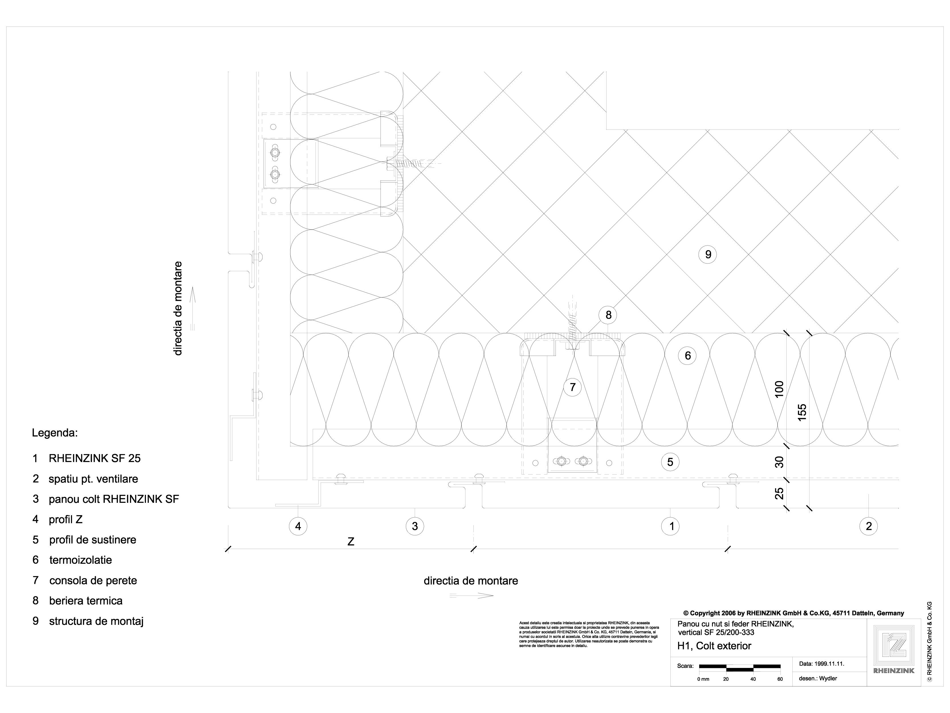 Pagina 1 - CAD-DWG Panou cu nut si feder - H1 Colt exterior cu panou de colt in planul peretelui...