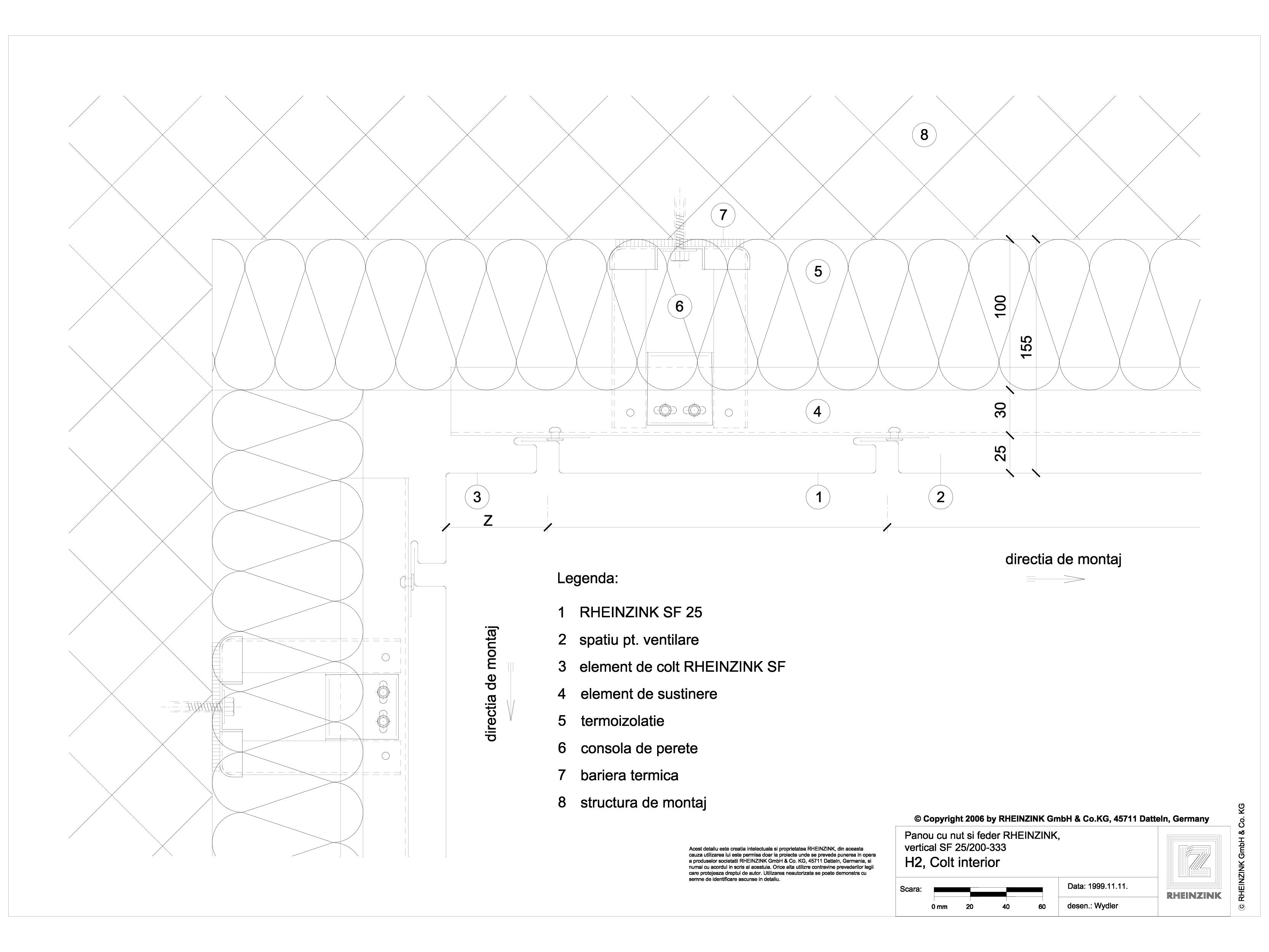 Pagina 1 - CAD-DWG Panou cu nut si feder - H2 Colt interior cu element de colt RHEINZINK Detaliu de ...