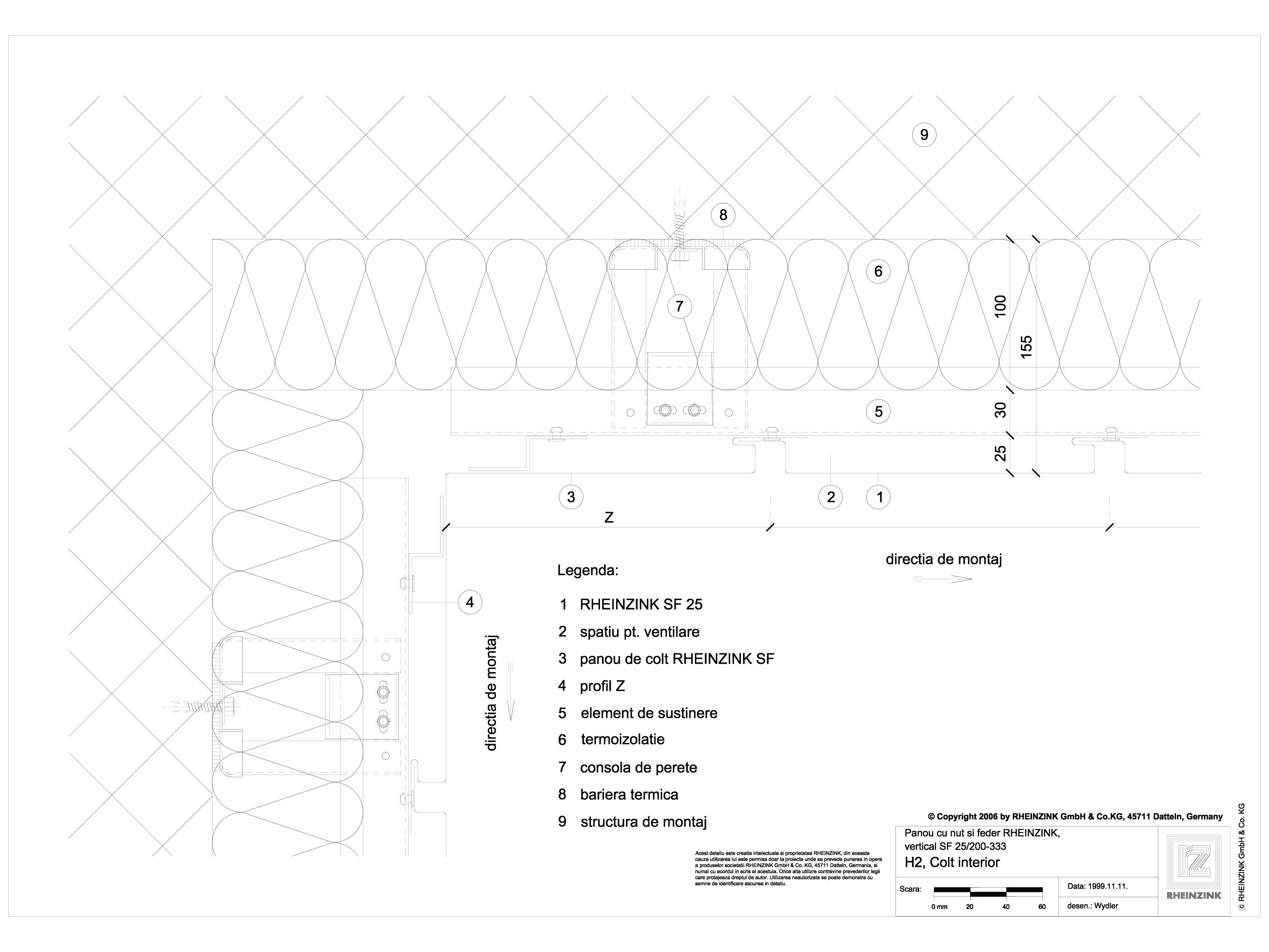 Pagina 1 - CAD-DWG Panou cu nut si feder - H2 Colt interior cu panou de colt RHEINZINK Detaliu de...