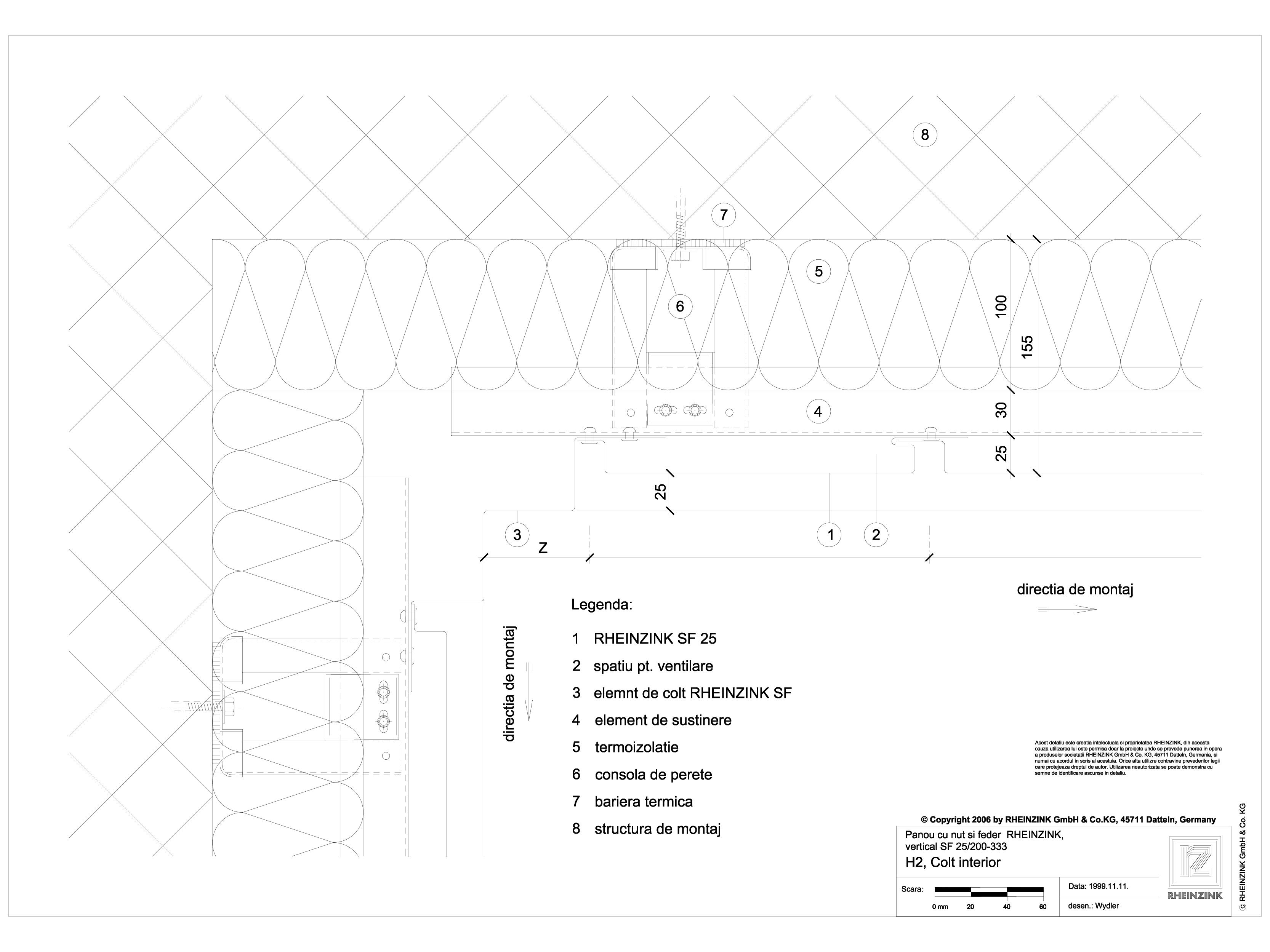 Pagina 1 - CAD-DWG Panou cu nut si feder - H2 Colt interior iesit in afara planului RHEINZINK...