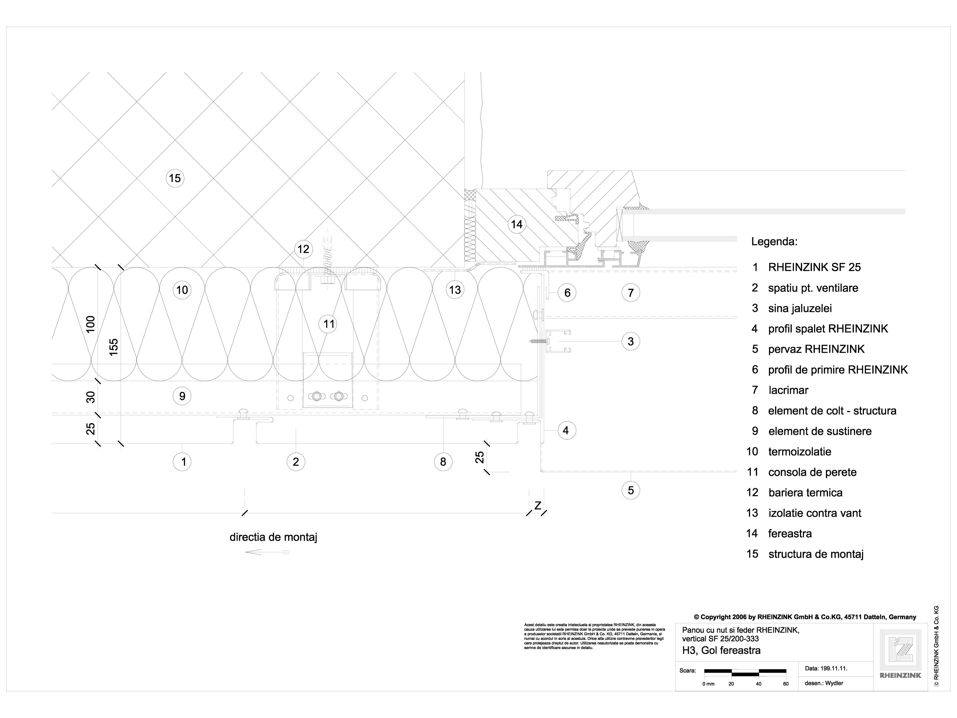 Pagina 1 - CAD-DWG Panou cu nut si feder - H3 Gol de fereastra cu element de colt in planul...