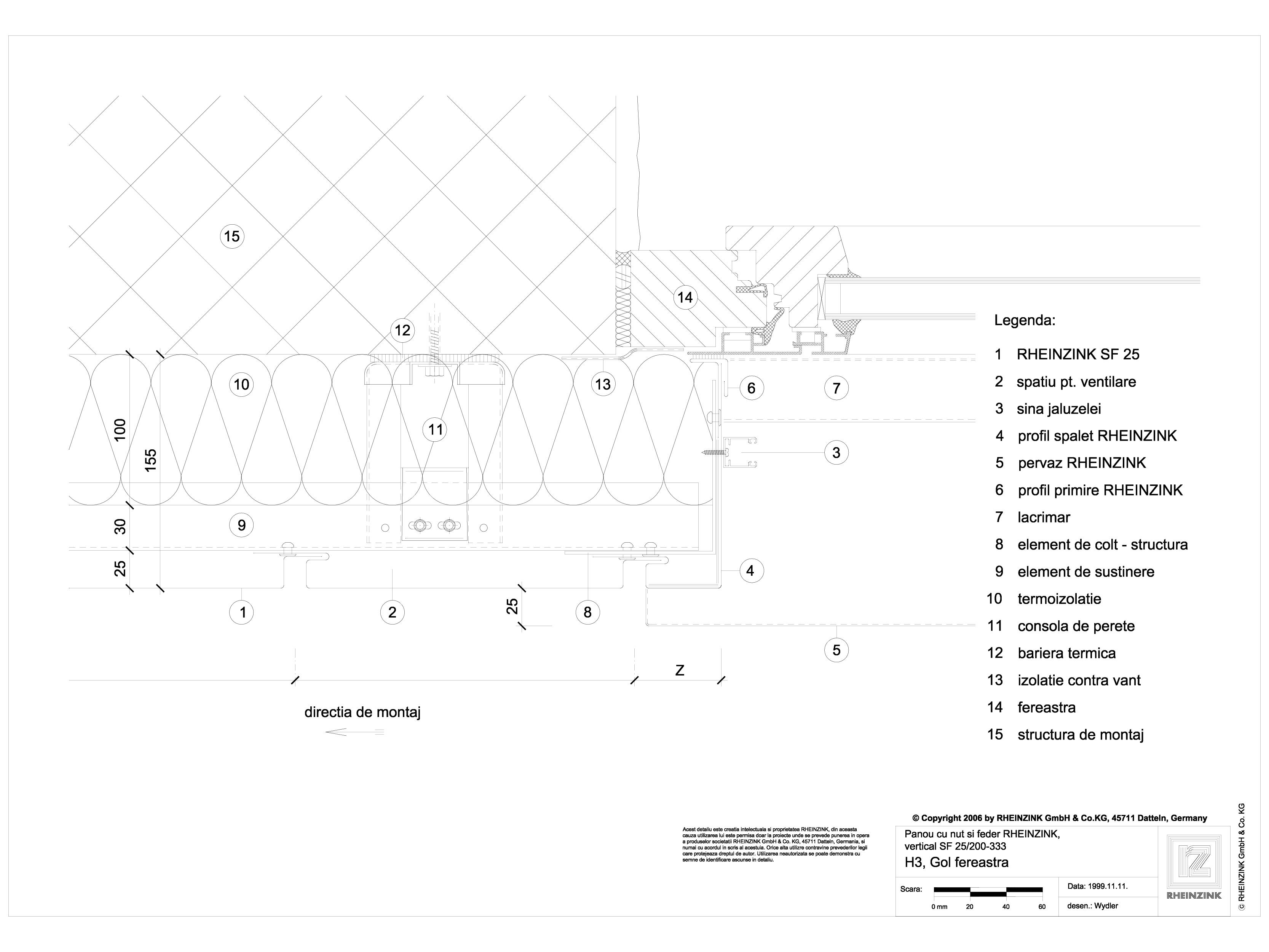 Pagina 1 - CAD-DWG Panou cu nut si feder - H3 Gol de fereastra cu element in planul peretelui...