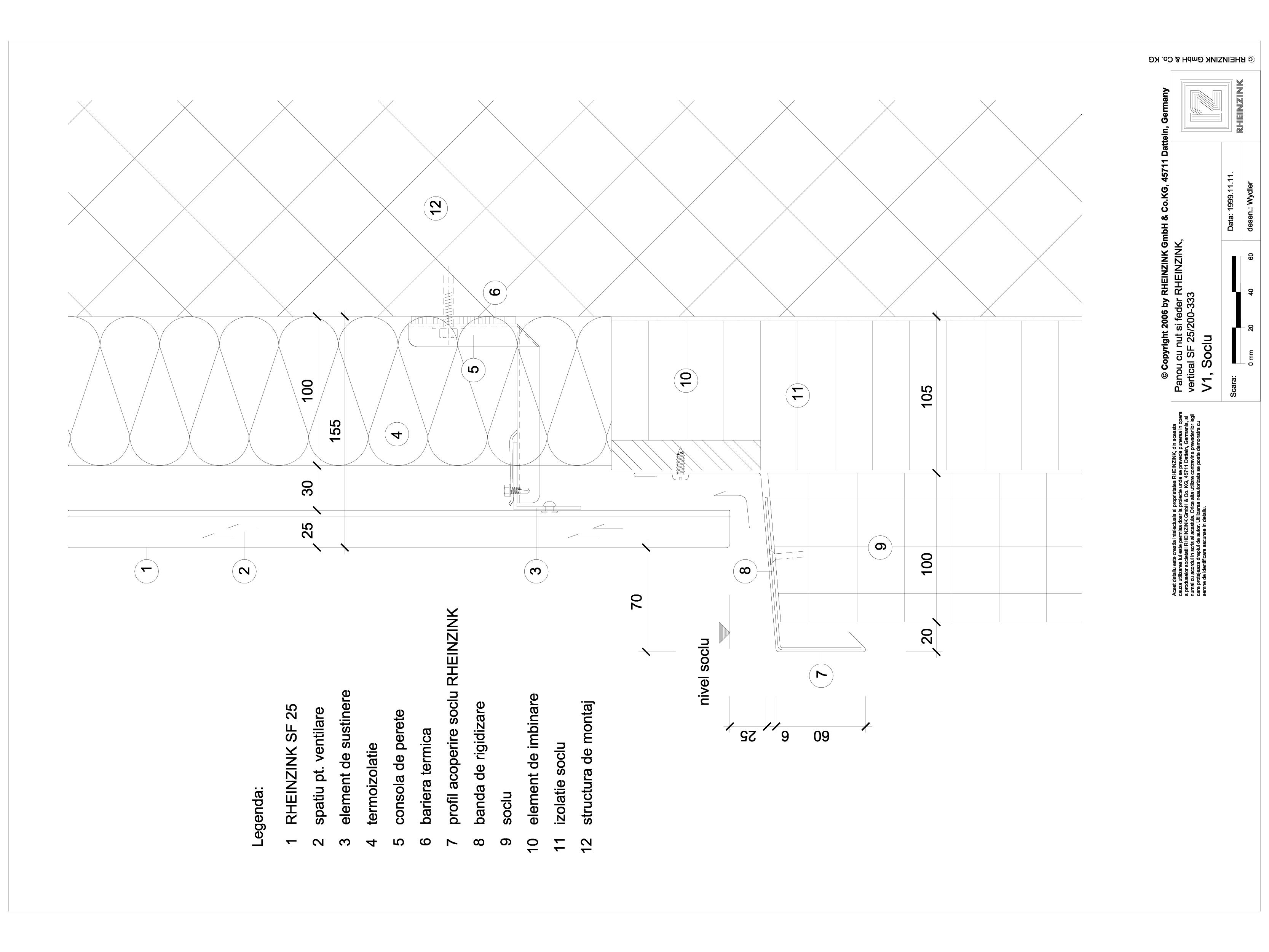 Pagina 1 - CAD-DWG Panou cu nut si feder - V1 Soclu cu profil de acoperire RHEINZINK Detaliu de...