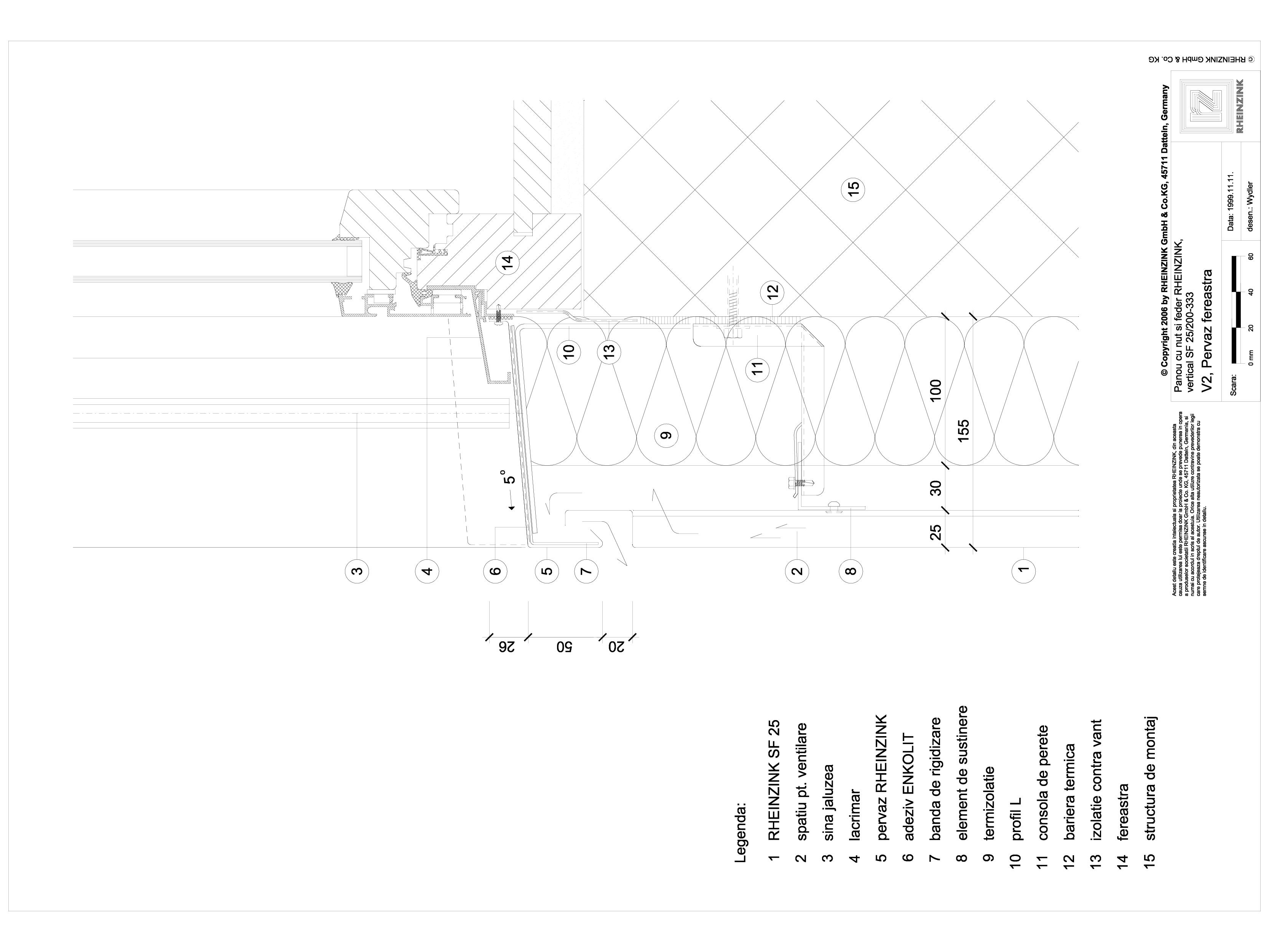 Pagina 1 - CAD-DWG Panou cu nut si feder - V2 Pervaz de fereastra in planul peretelui RHEINZINK...