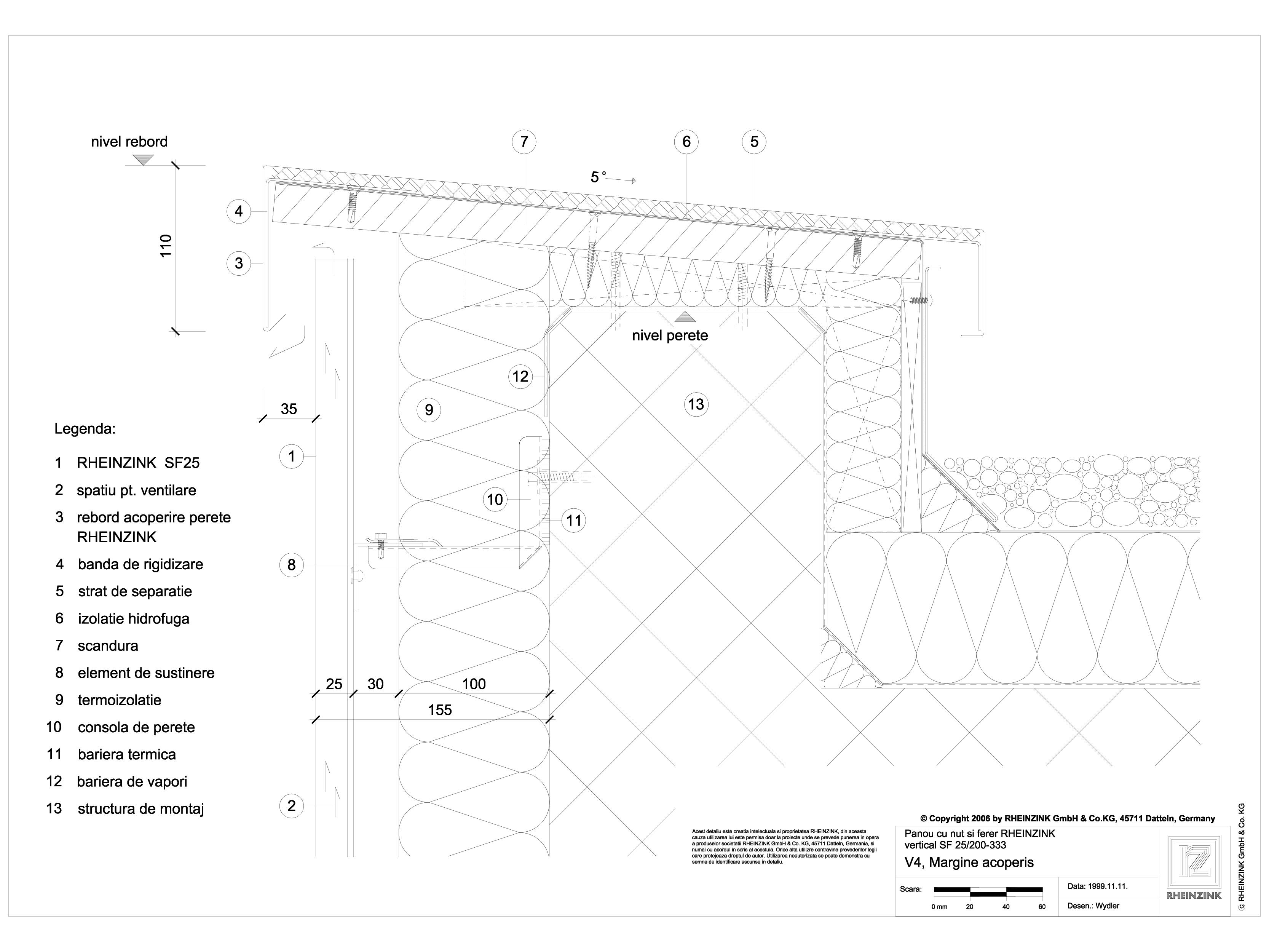 Pagina 1 - CAD-DWG Panou cu nut si feder - V4 Rebord iesit din planul peretelui cu o piesa RHEINZINK...