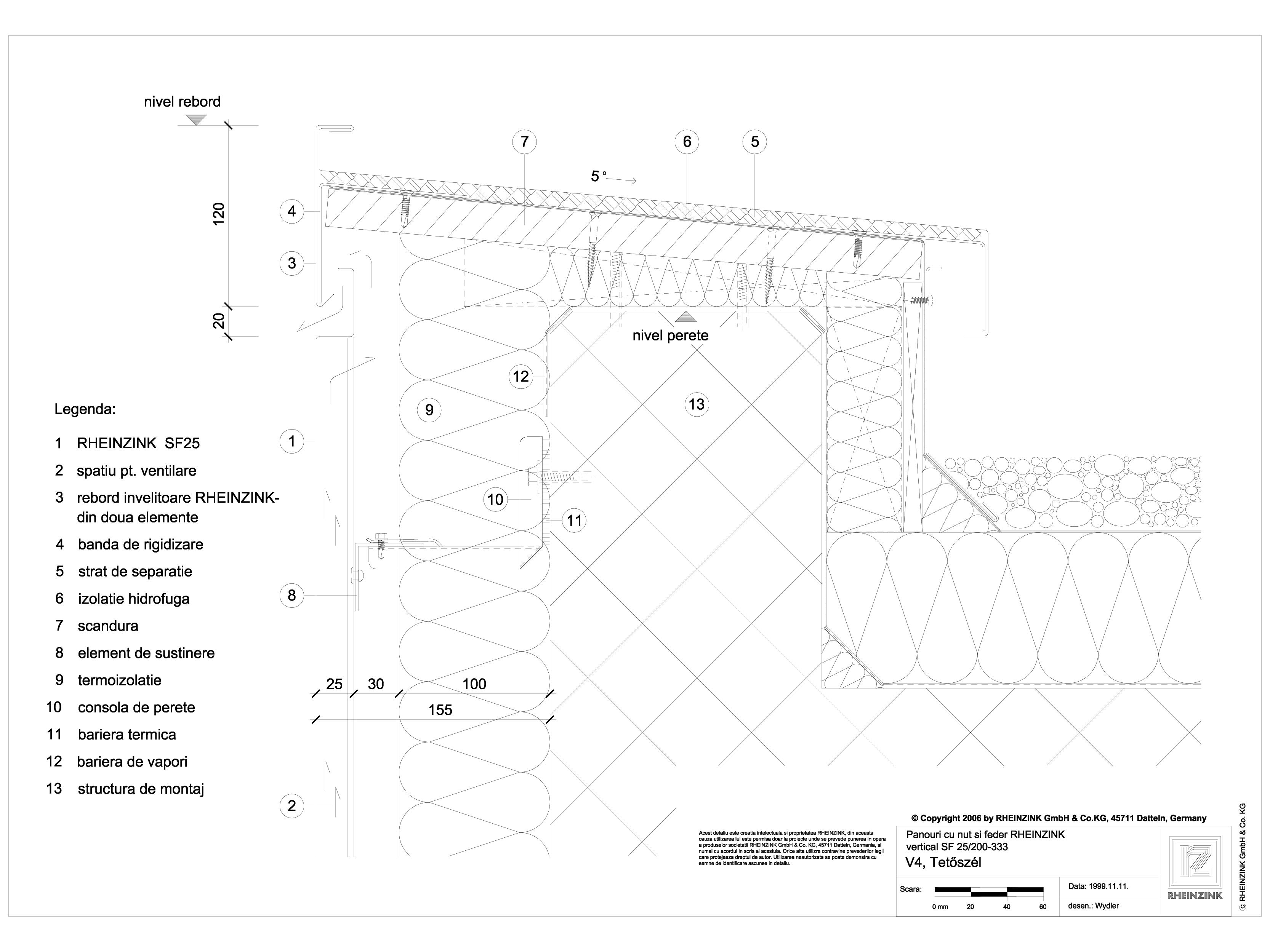 Pagina 1 - CAD-DWG Panou cu nut si feder - V4 Rebord in planul peretelui cu doua piese RHEINZINK...