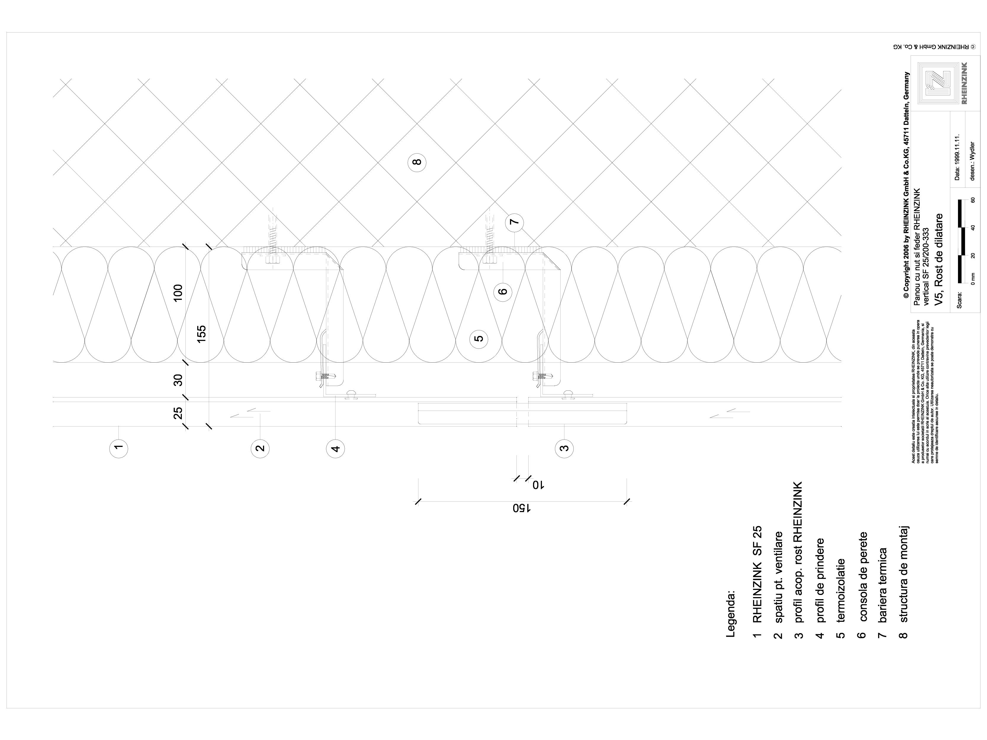 Pagina 1 - CAD-DWG Panou cu nut si feder - V5 Rost de dilatatie cu profil de imbinare RHEINZINK...