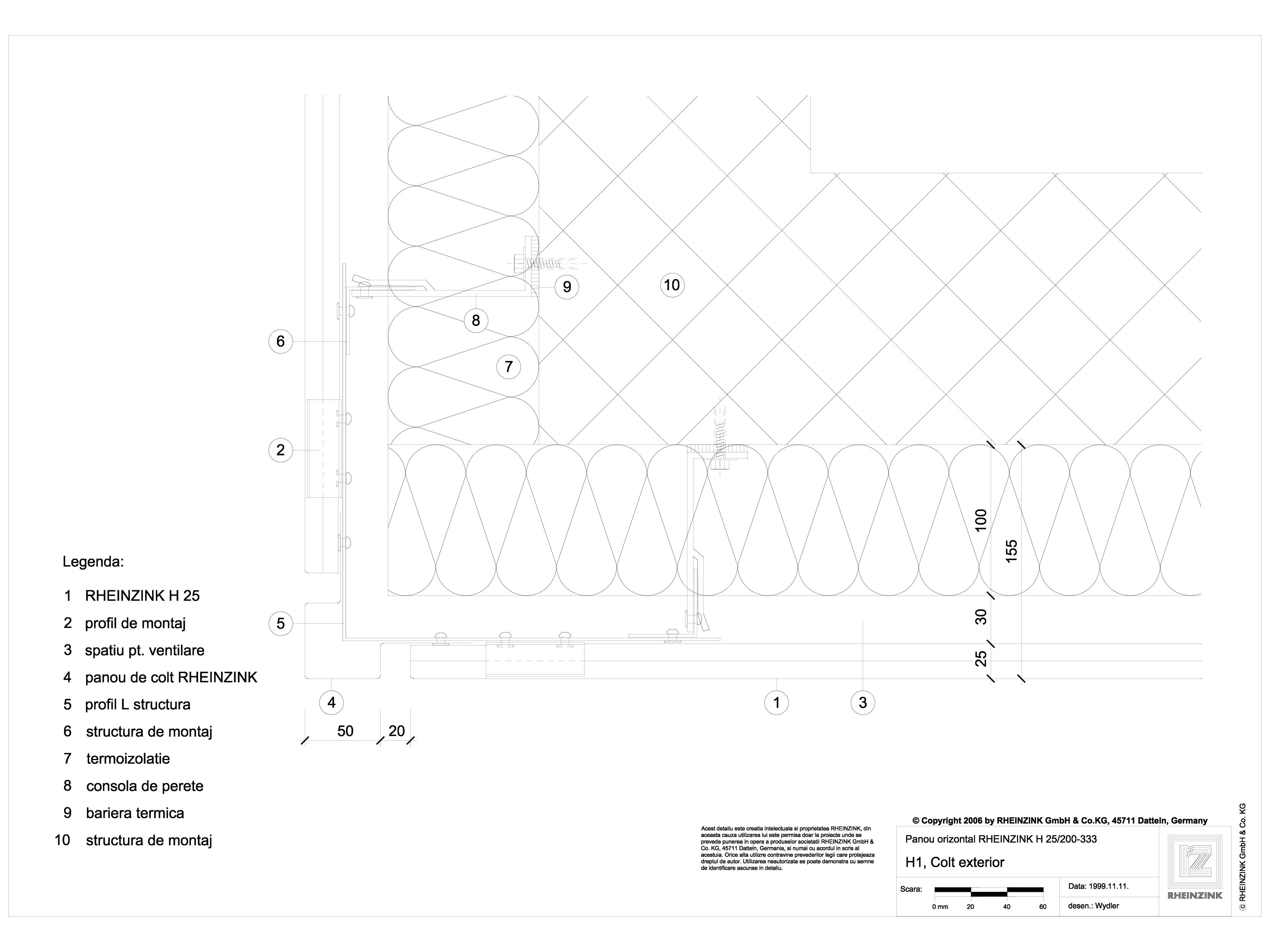 Pagina 1 - CAD-DWG H1 Colt exterior in planul placarii peretelui RHEINZINK Detaliu de montaj...