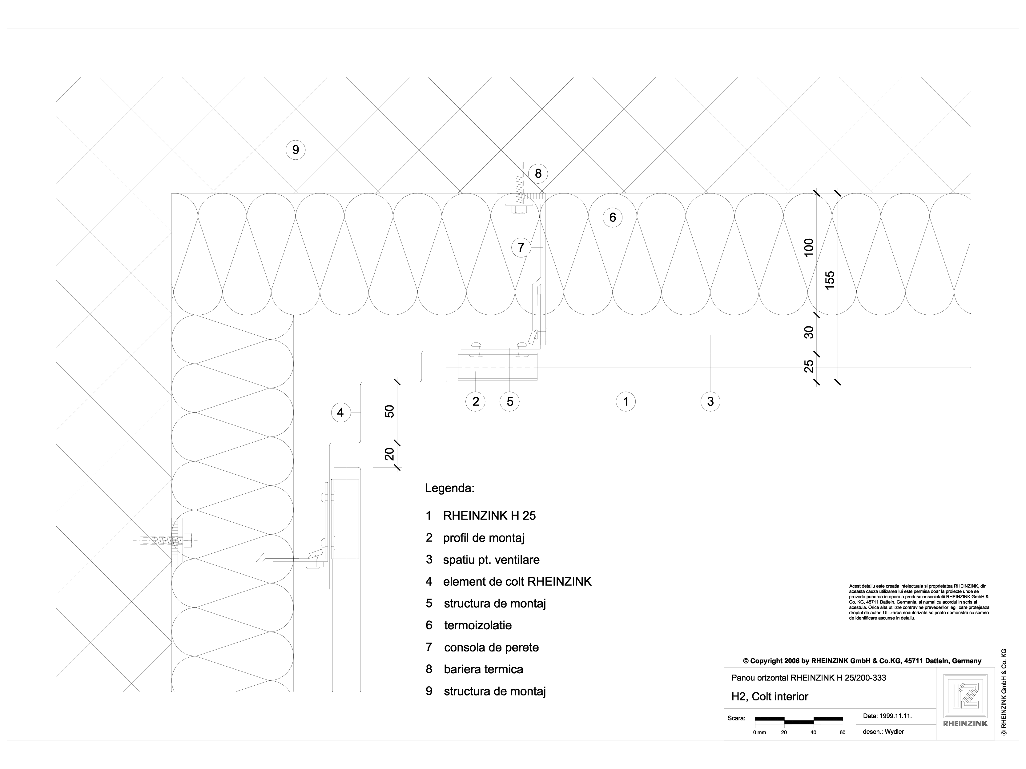 Pagina 1 - CAD-DWG H2 Colt interior in planul placarii peretelui RHEINZINK Detaliu de montaj...