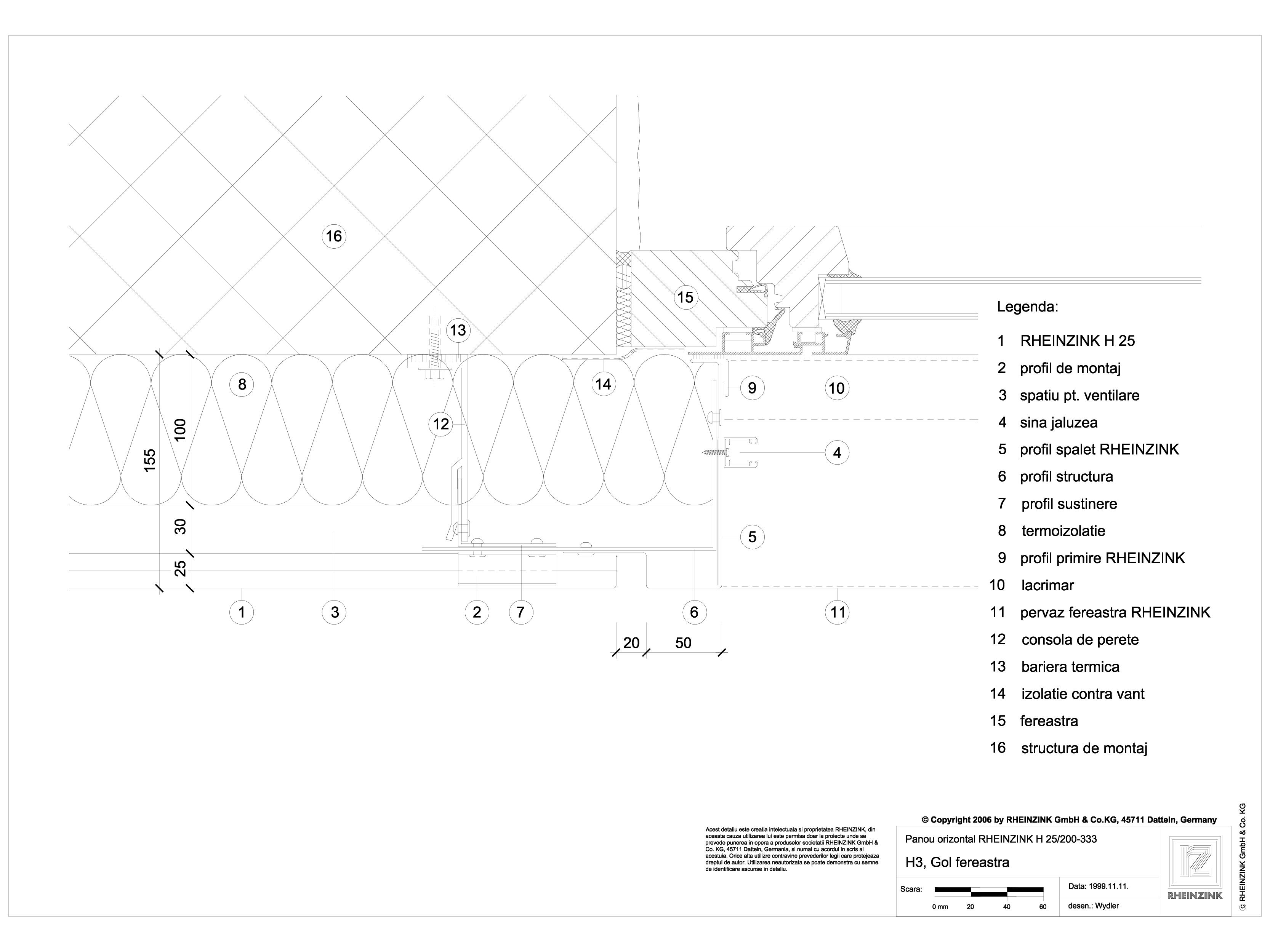 Pagina 1 - CAD-DWG H3 Gol fereastra in planul placarii peretelui RHEINZINK Detaliu de montaj...