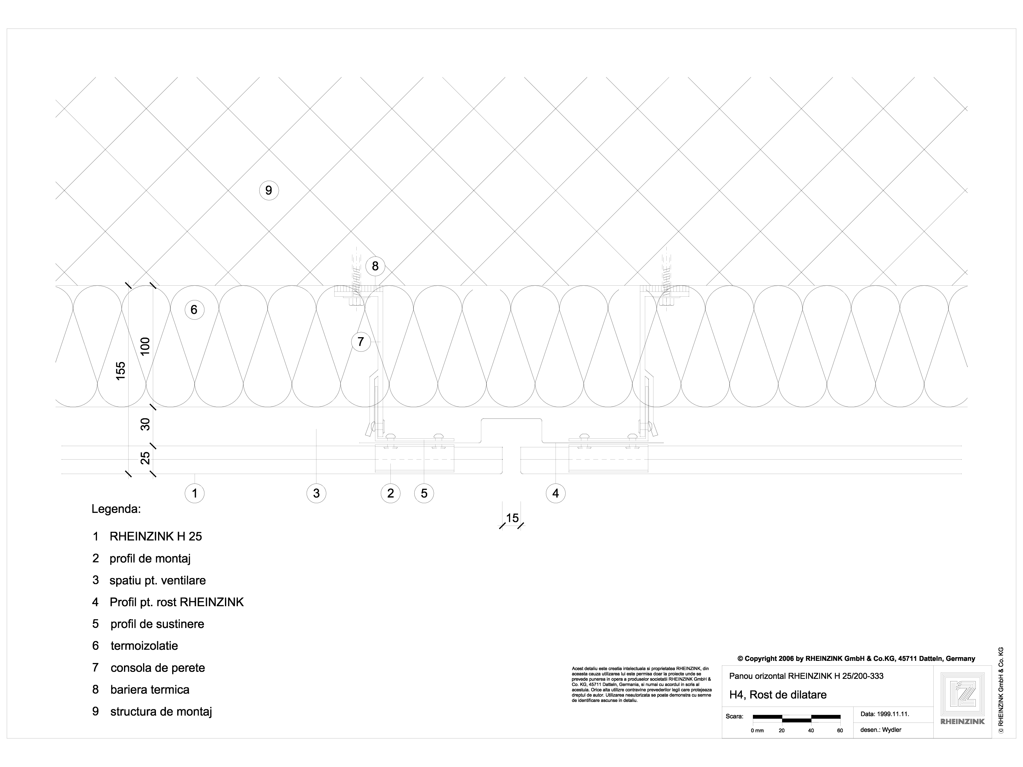 Pagina 1 - CAD-DWG H4 Rost de dilatatie cu profil de acoperire RHEINZINK Detaliu de montaj...