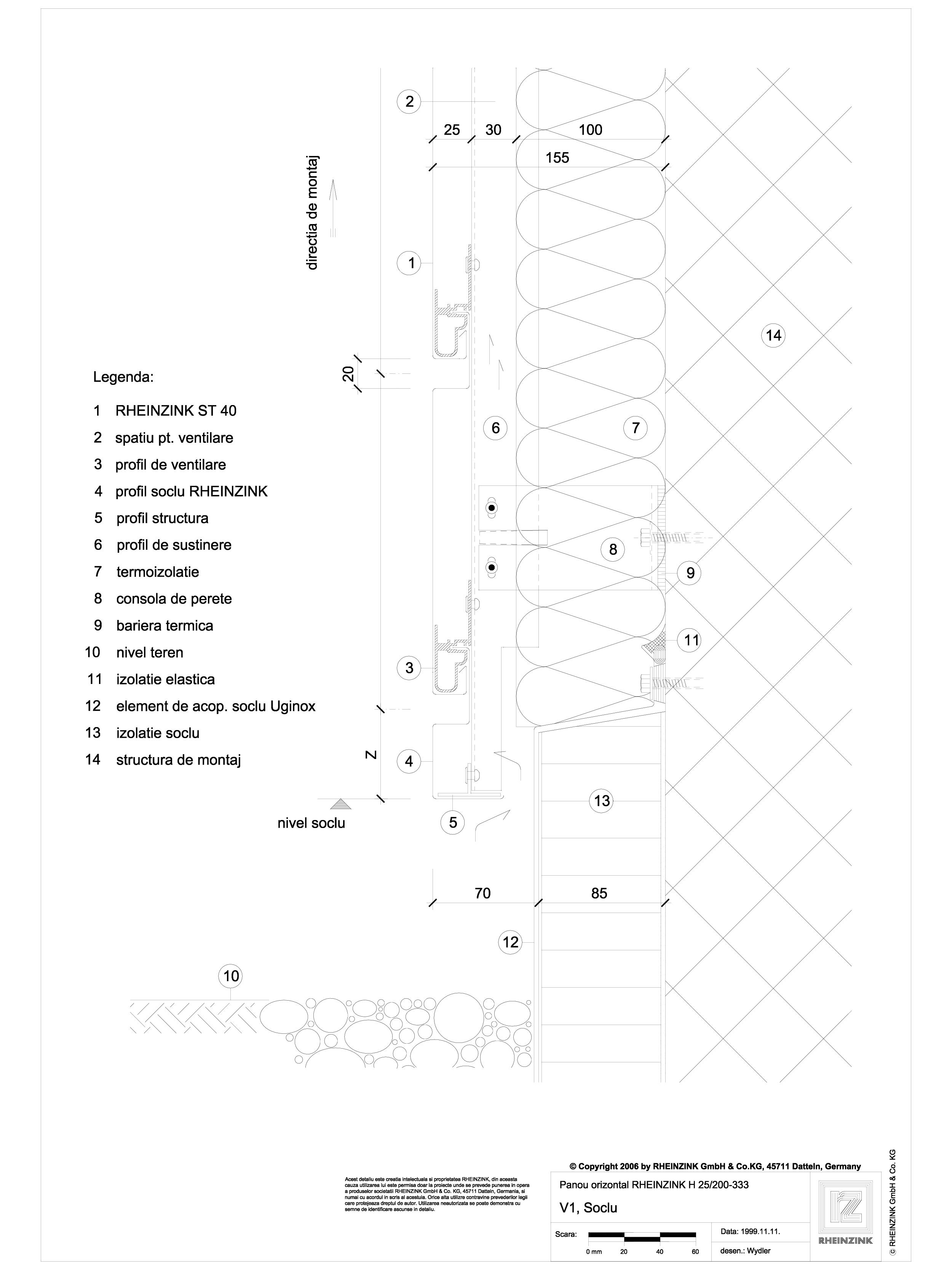 Pagina 1 - CAD-DWG V1 Soclu in planul placarii peretelui RHEINZINK Detaliu de montaj orizontale