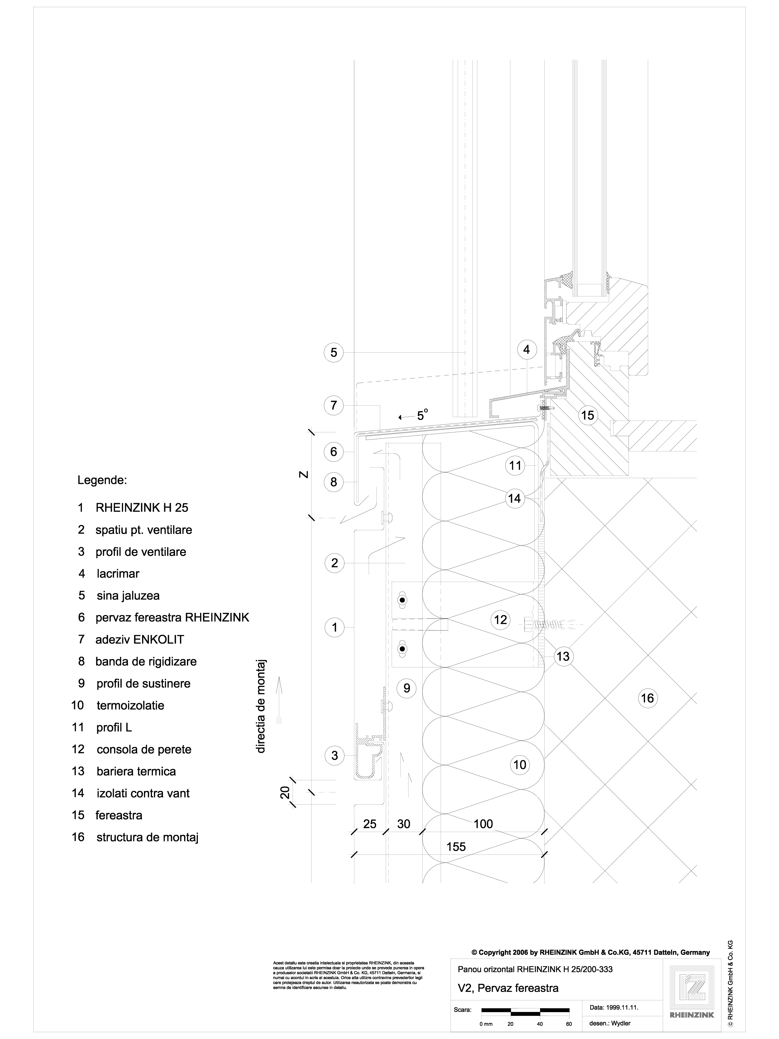 Pagina 1 - CAD-DWG V2 Pervaz fereastra in planul placarii peretelui RHEINZINK Detaliu de montaj...