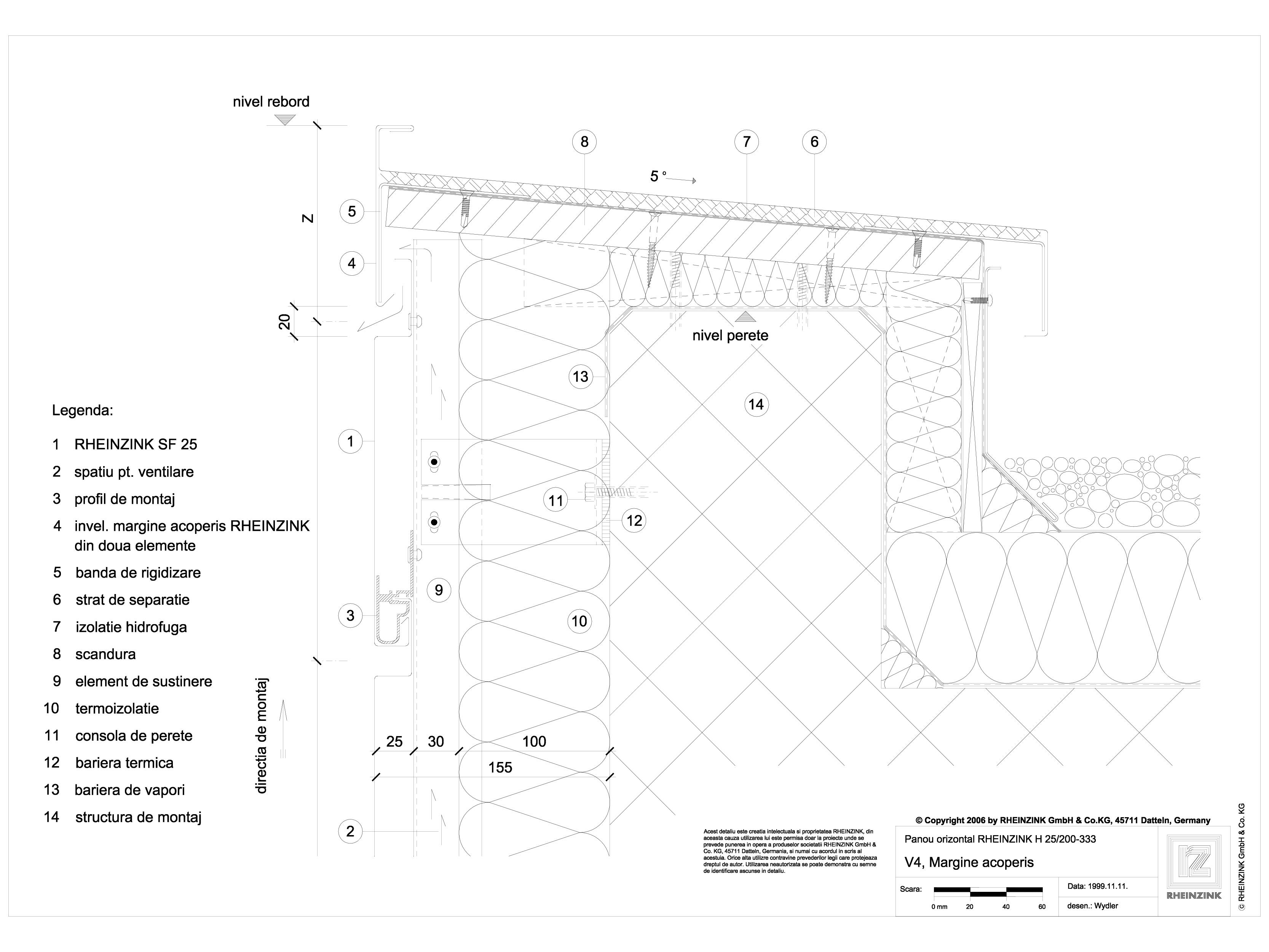 Pagina 1 - CAD-DWG V4 Rebord cu doua piese in planul placarii peretelui RHEINZINK Detaliu de montaj ...