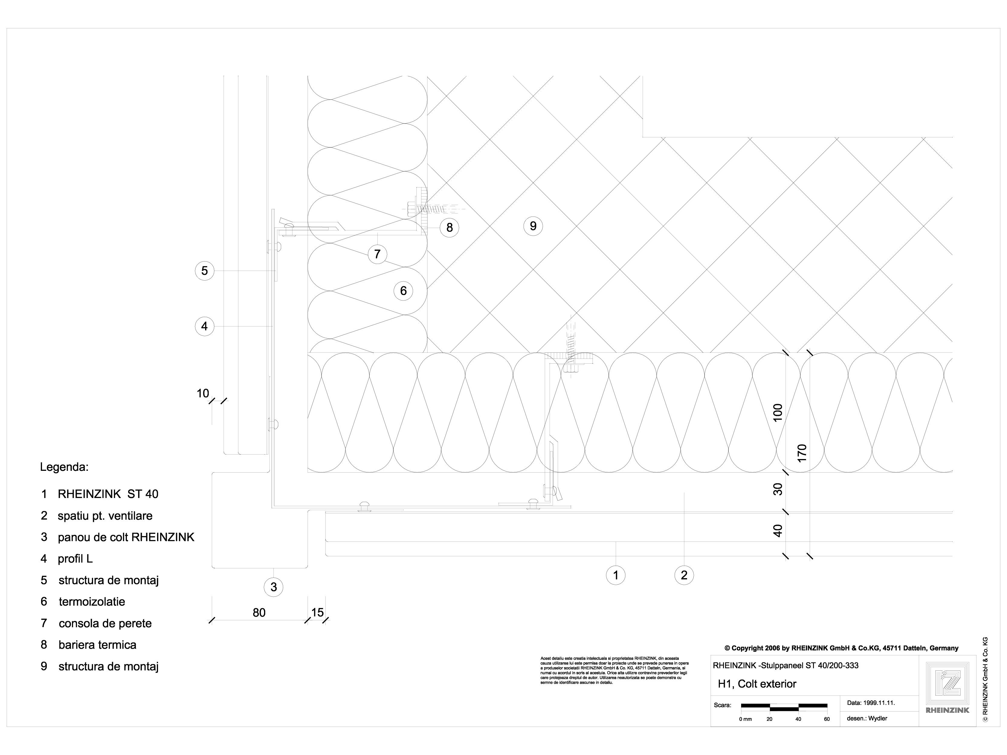 Pagina 1 - CAD-DWG H1 Colt exterior cu profil cu sectiune dreptunghiulara RHEINZINK Detaliu de...