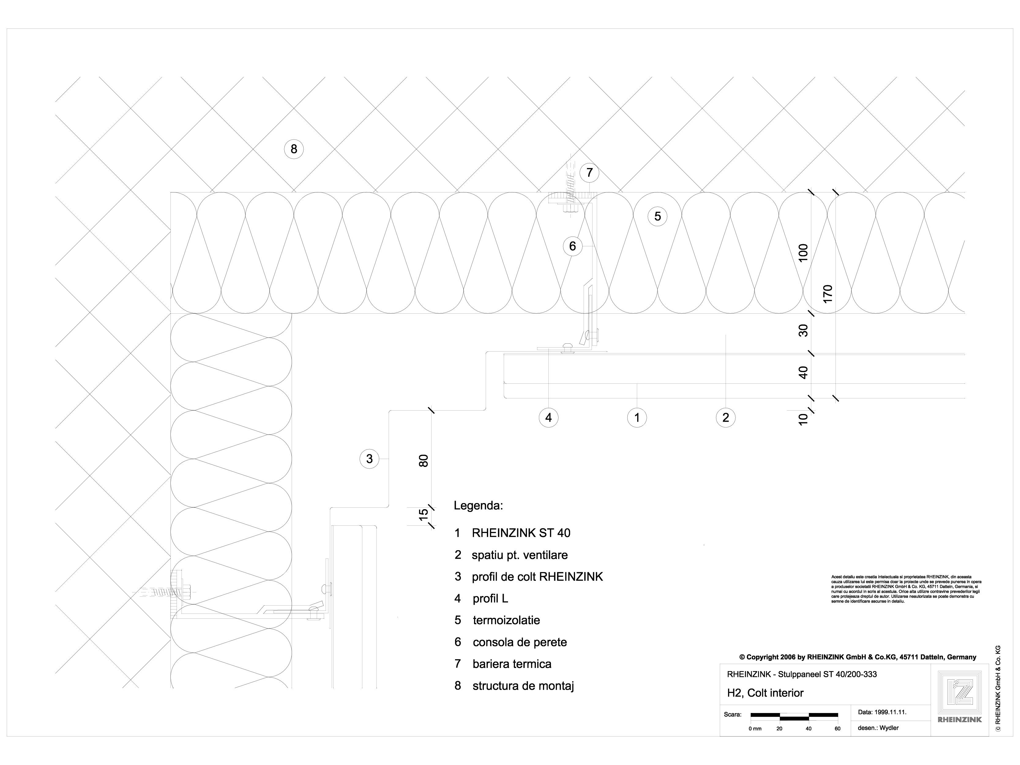 Pagina 1 - CAD-DWG H2 Colt interior, iesit din planul peretelui RHEINZINK Detaliu de montaj Stulp