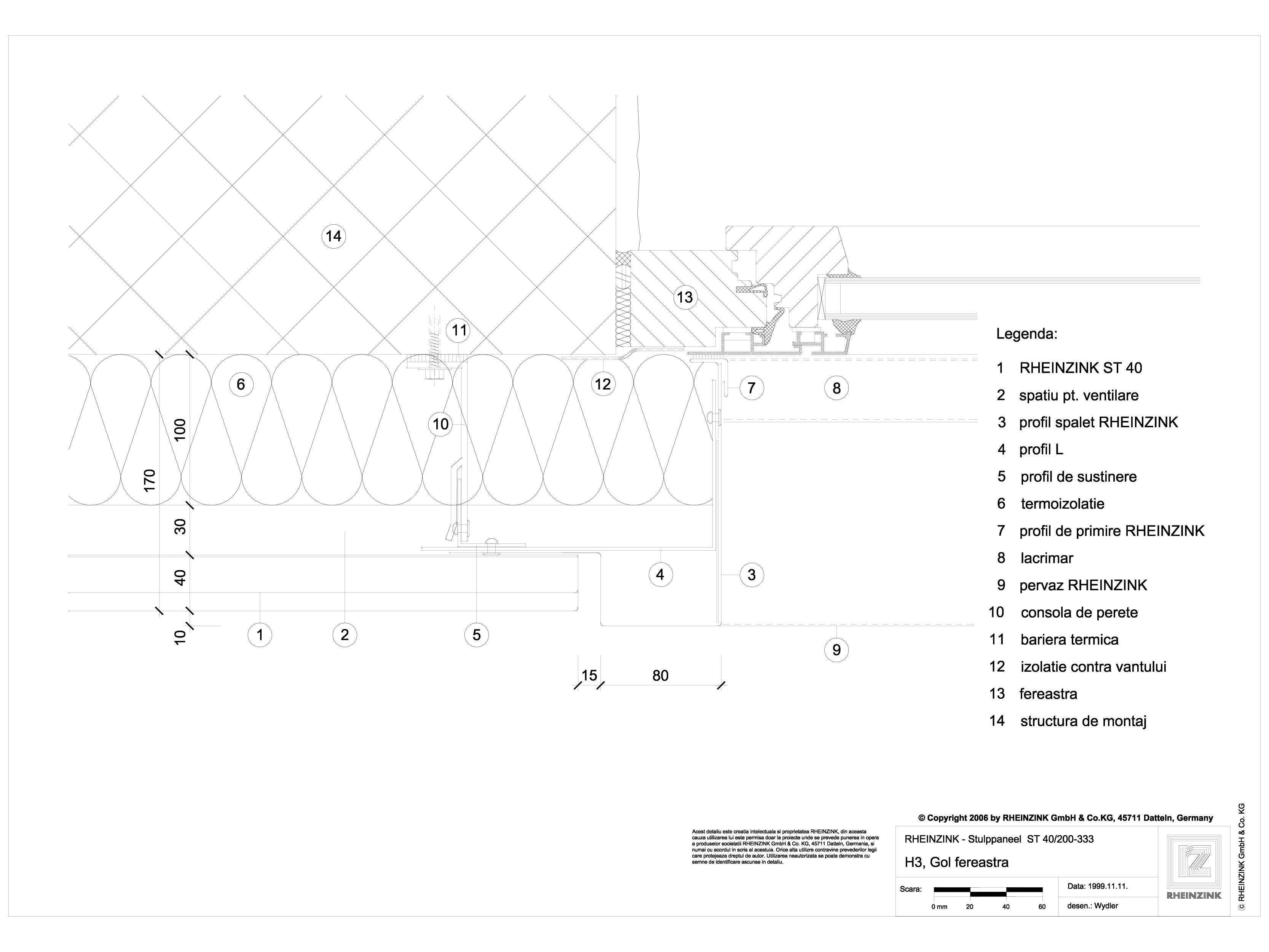 Pagina 1 - CAD-DWG H3 Gol fereastra, iesit din planul peretelui RHEINZINK Detaliu de montaj Stulp