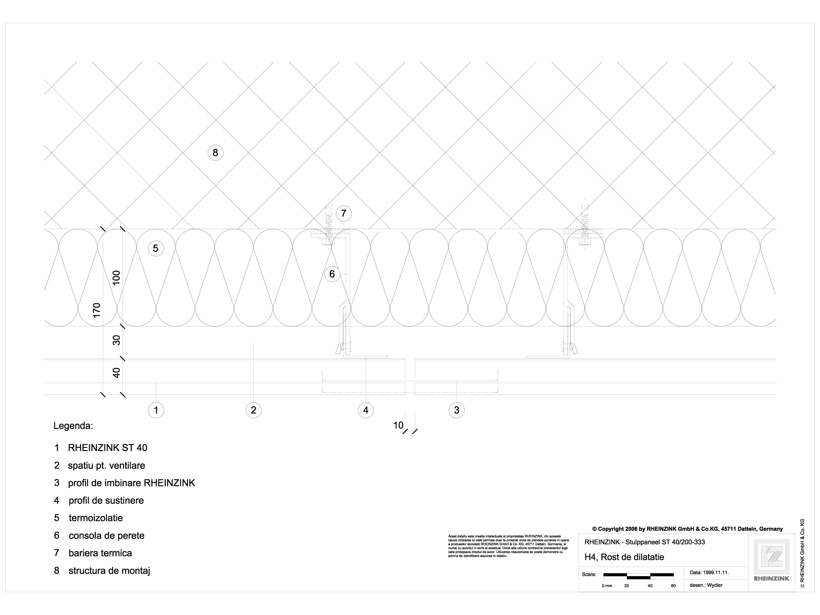 Pagina 1 - CAD-DWG H4 Rost de dilatare cu profil de imbinare RHEINZINK Detaliu de montaj Stulp