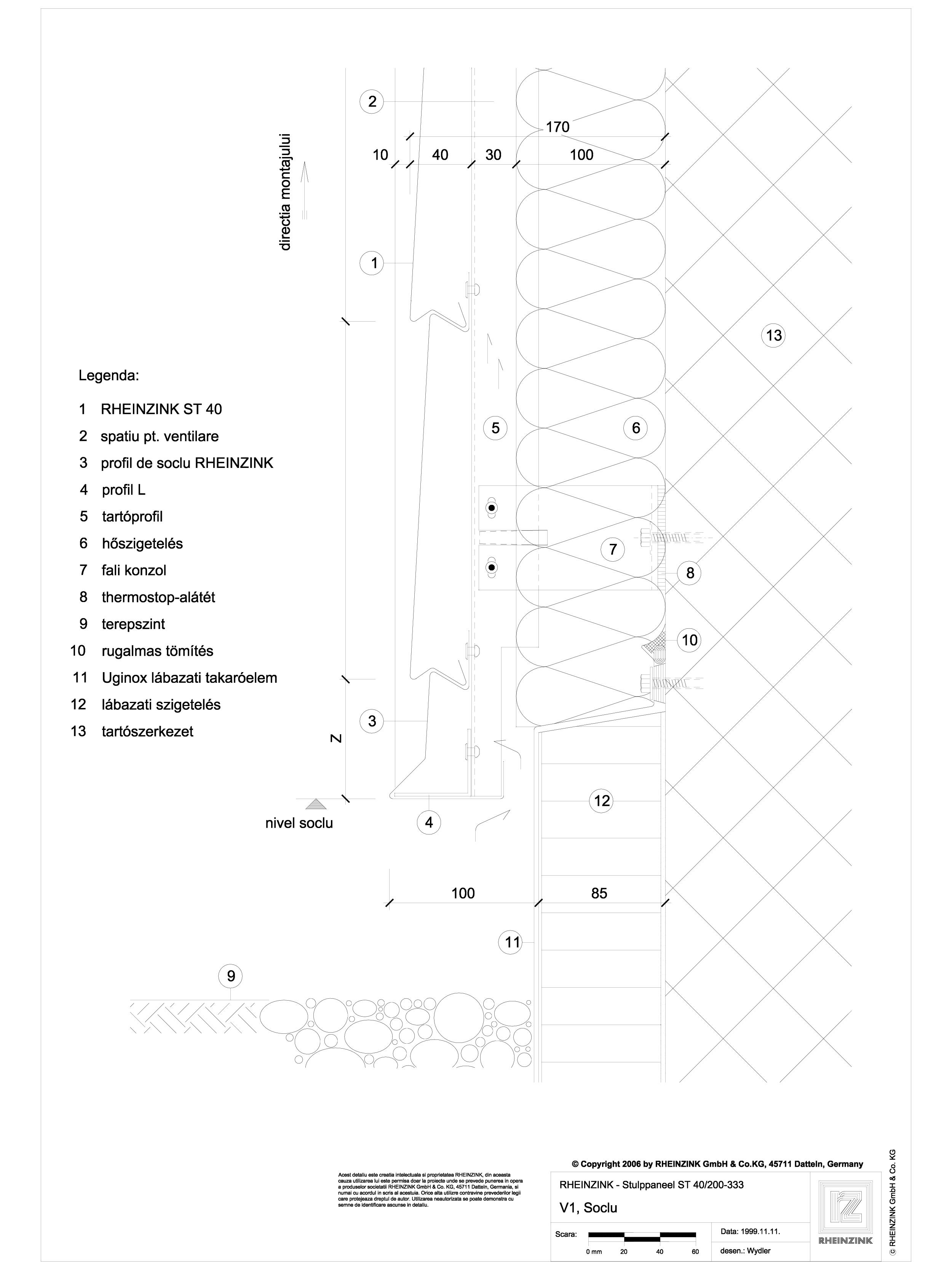 Pagina 1 - CAD-DWG V1 Soclu cu lacrimar RHEINZINK Detaliu de montaj Stulp
