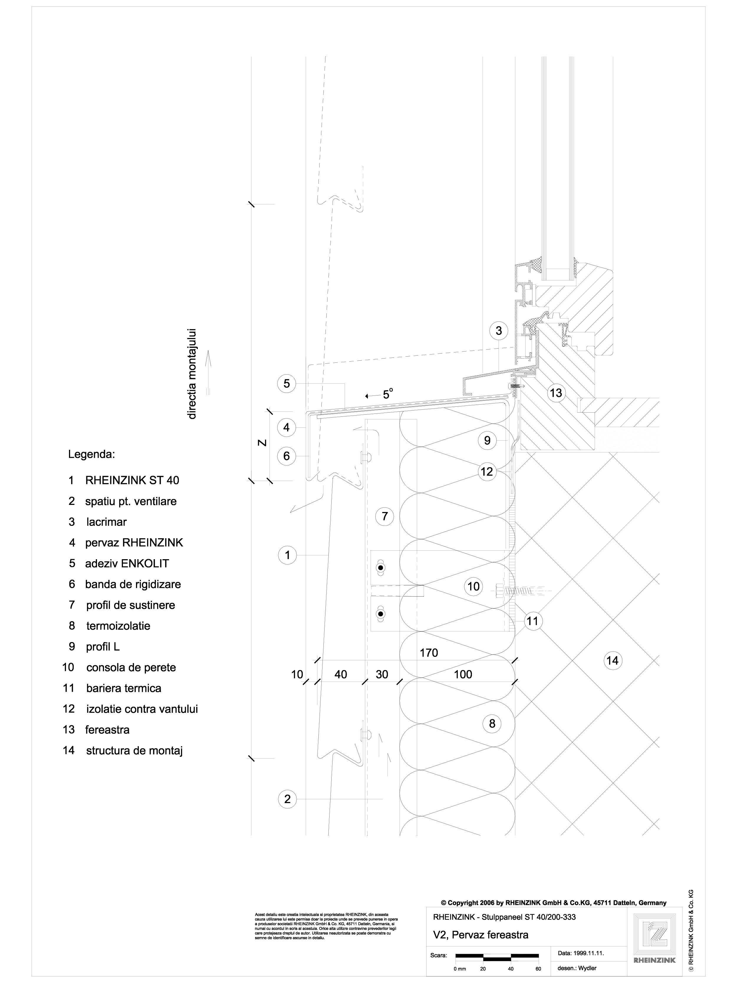 Pagina 1 - CAD-DWG V2 Pervaz fereastra iesit din planul peretelui RHEINZINK Detaliu de montaj Stulp