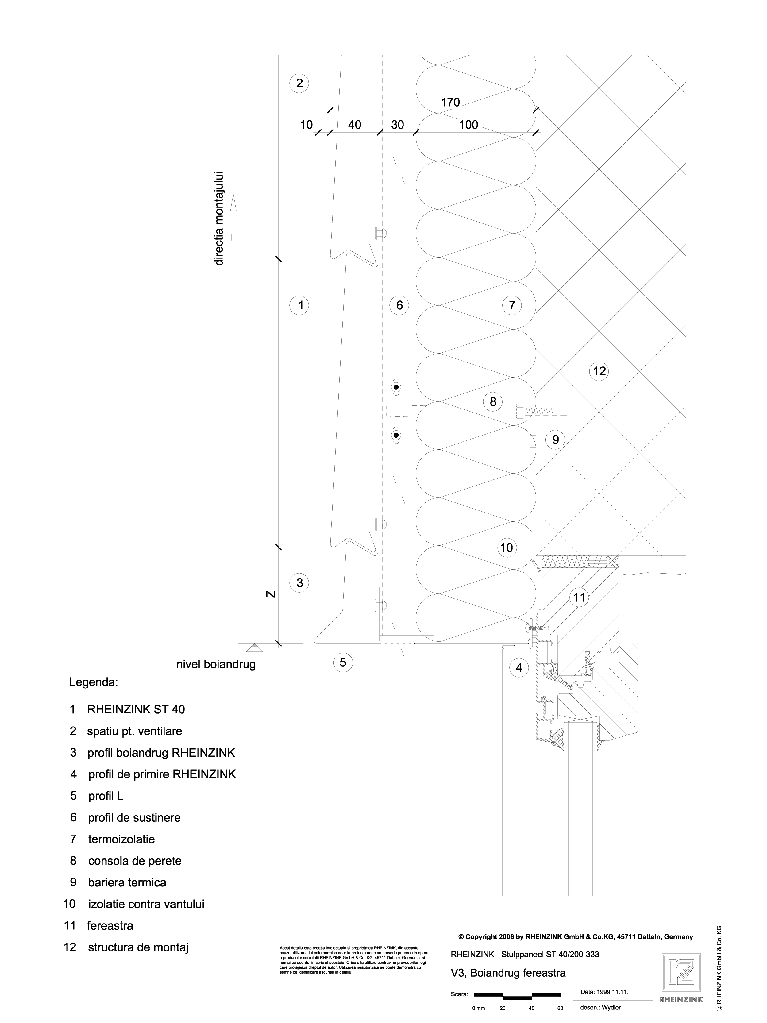 Pagina 1 - CAD-DWG V3 Boiandrug fereastra in planul peretelui, cu lacrimar RHEINZINK Detaliu de...