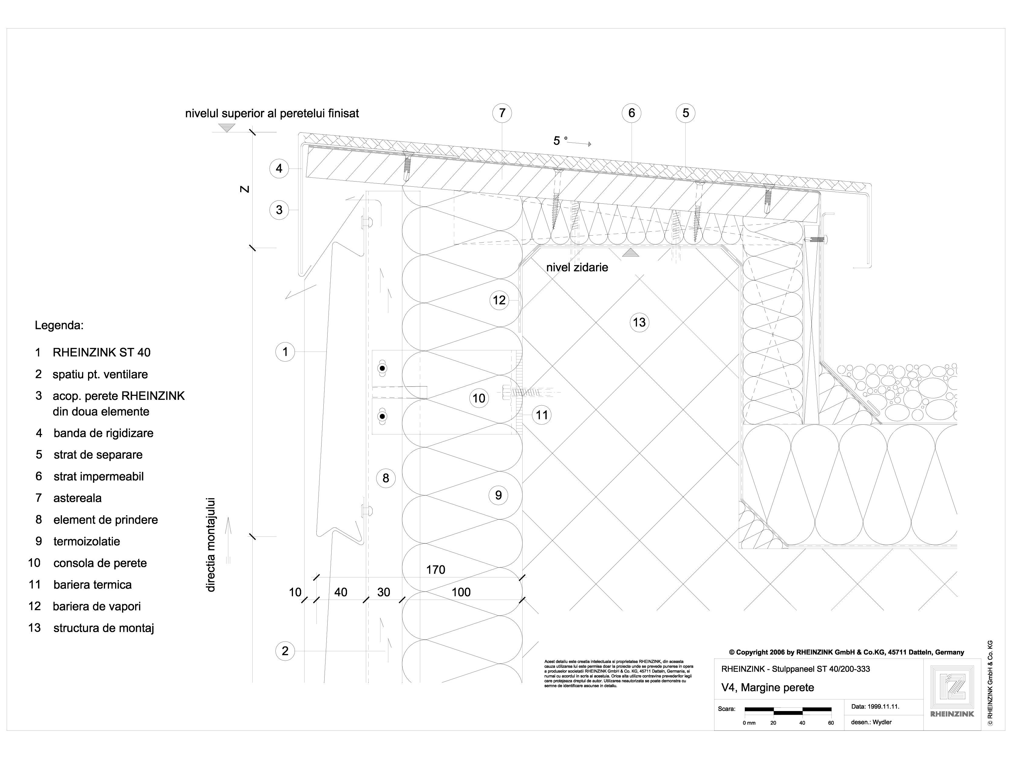 Pagina 1 - CAD-DWG V4 Rebord perete iesit din planul peretelui, 1 element RHEINZINK Detaliu de...