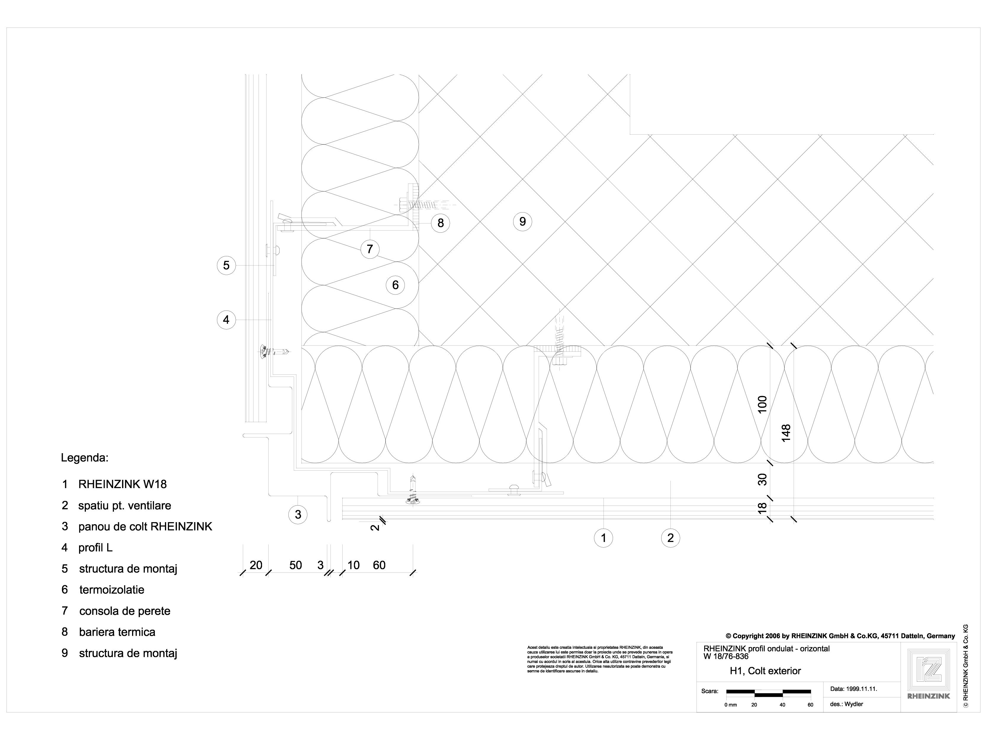 Pagina 1 - CAD-DWG H1 Colt exterior cu profil cu forma de lama RHEINZINK Detaliu de montaj ondulat