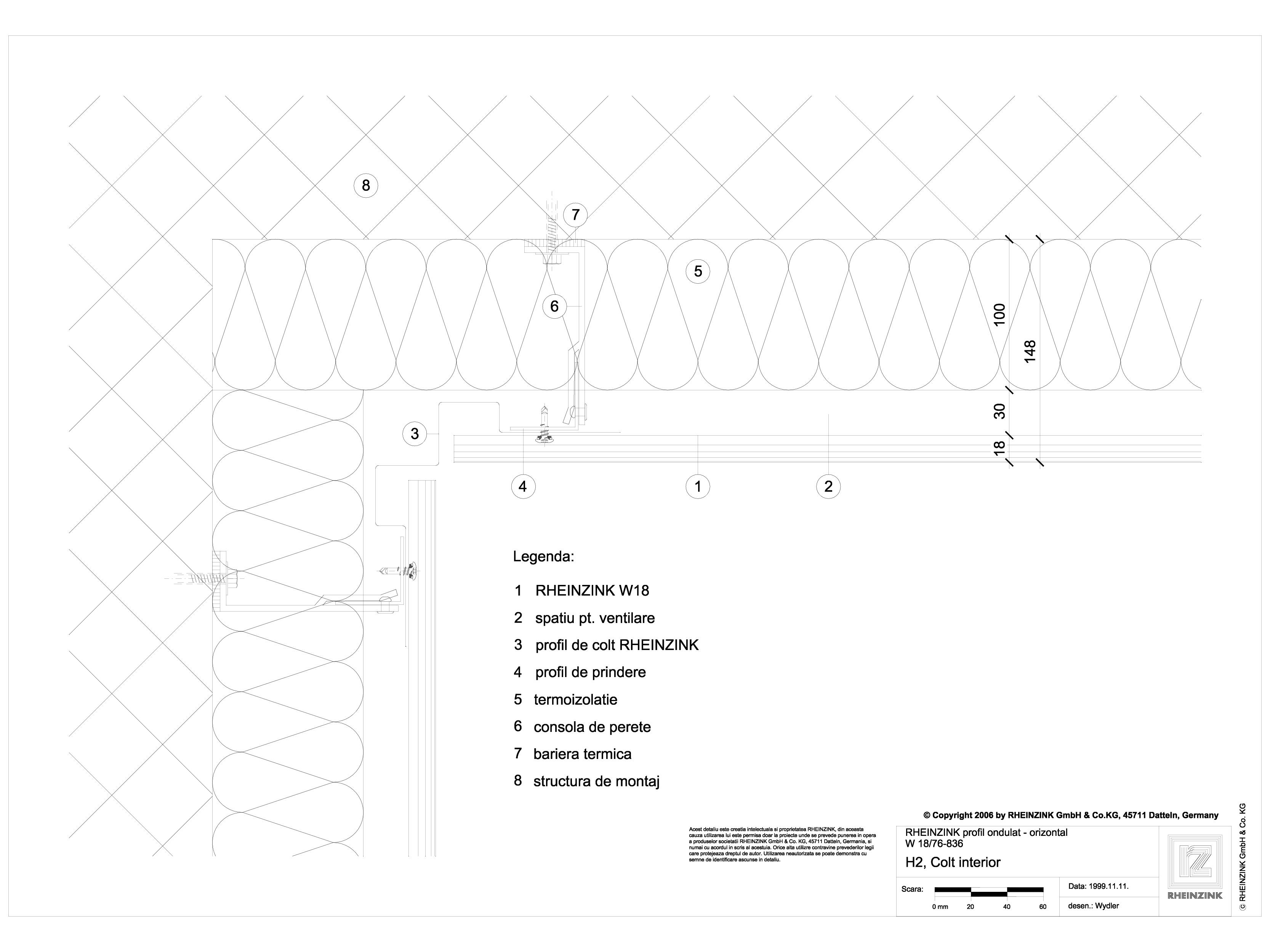 Pagina 1 - CAD-DWG H2 Colt interior in planul peretelui RHEINZINK Detaliu de montaj ondulat