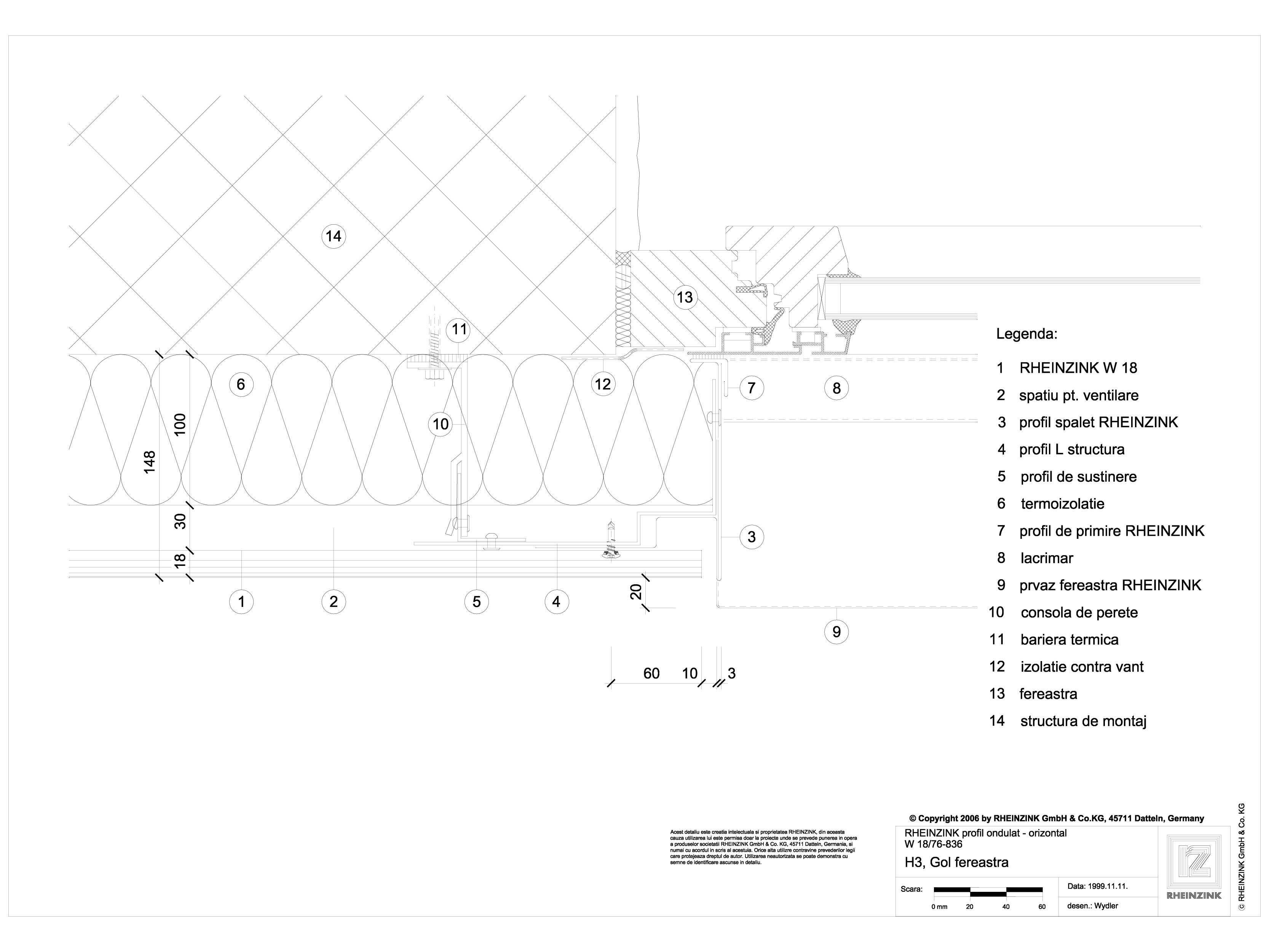 Pagina 1 - CAD-DWG H3 Gol fereastra cu profil cu forma de lama, in planul peretelui RHEINZINK...