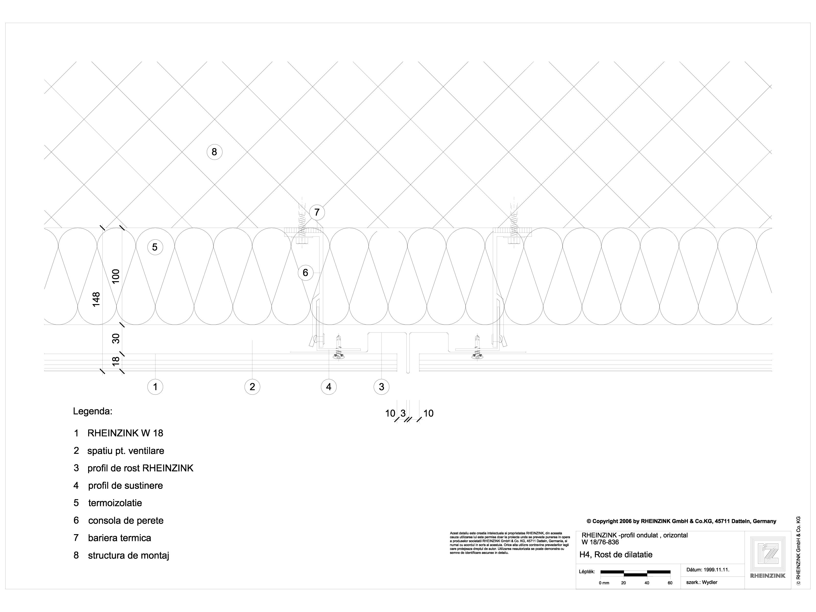 Pagina 1 - CAD-DWG H4 Rost de dilatare cu profil cu forma de lama, in planul peretelui RHEINZINK...