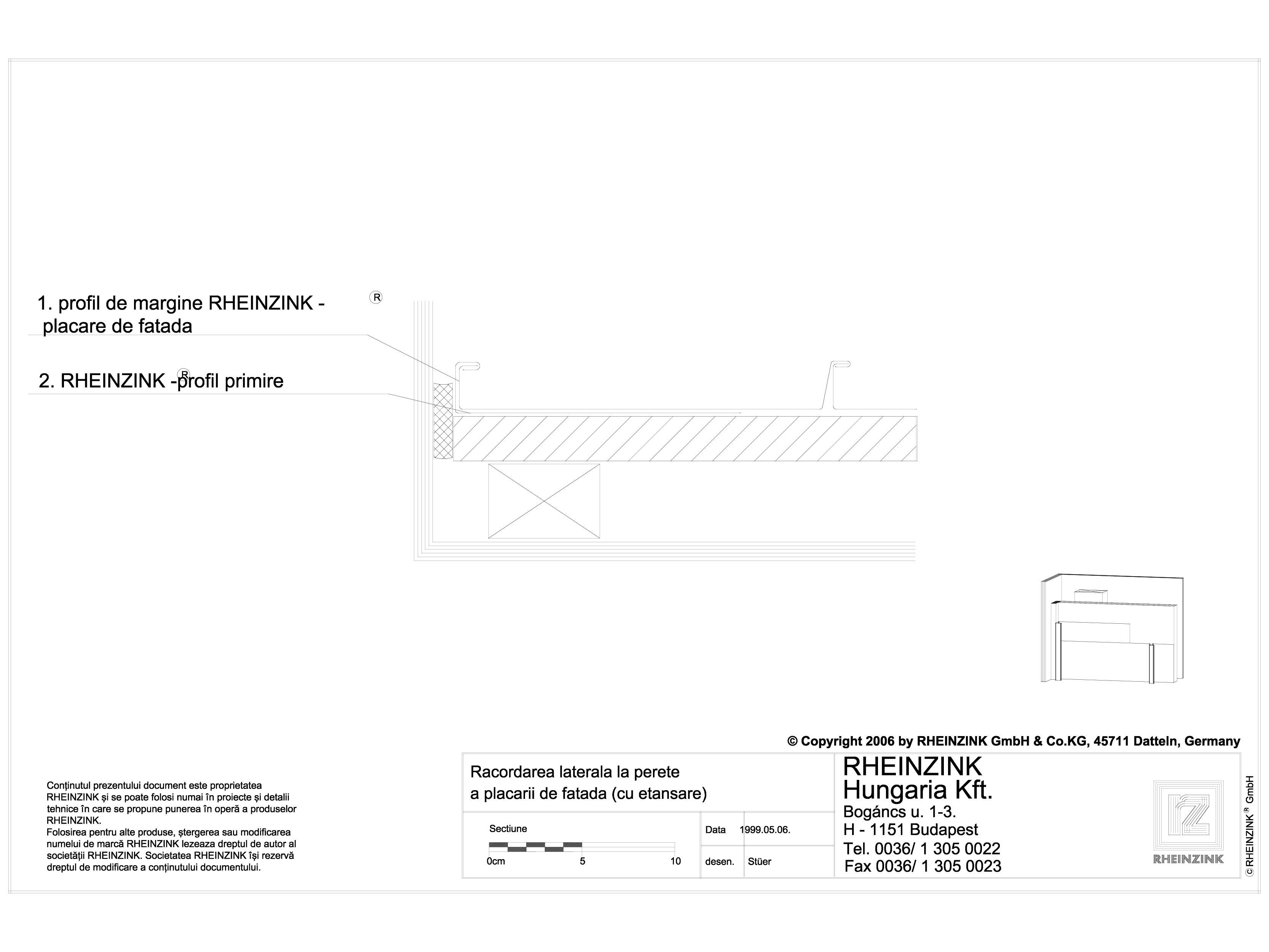 Pagina 1 - CAD-DWG Racordarea laterala la perete a placarii de fatada cu etansare RHEINZINK Detaliu ...