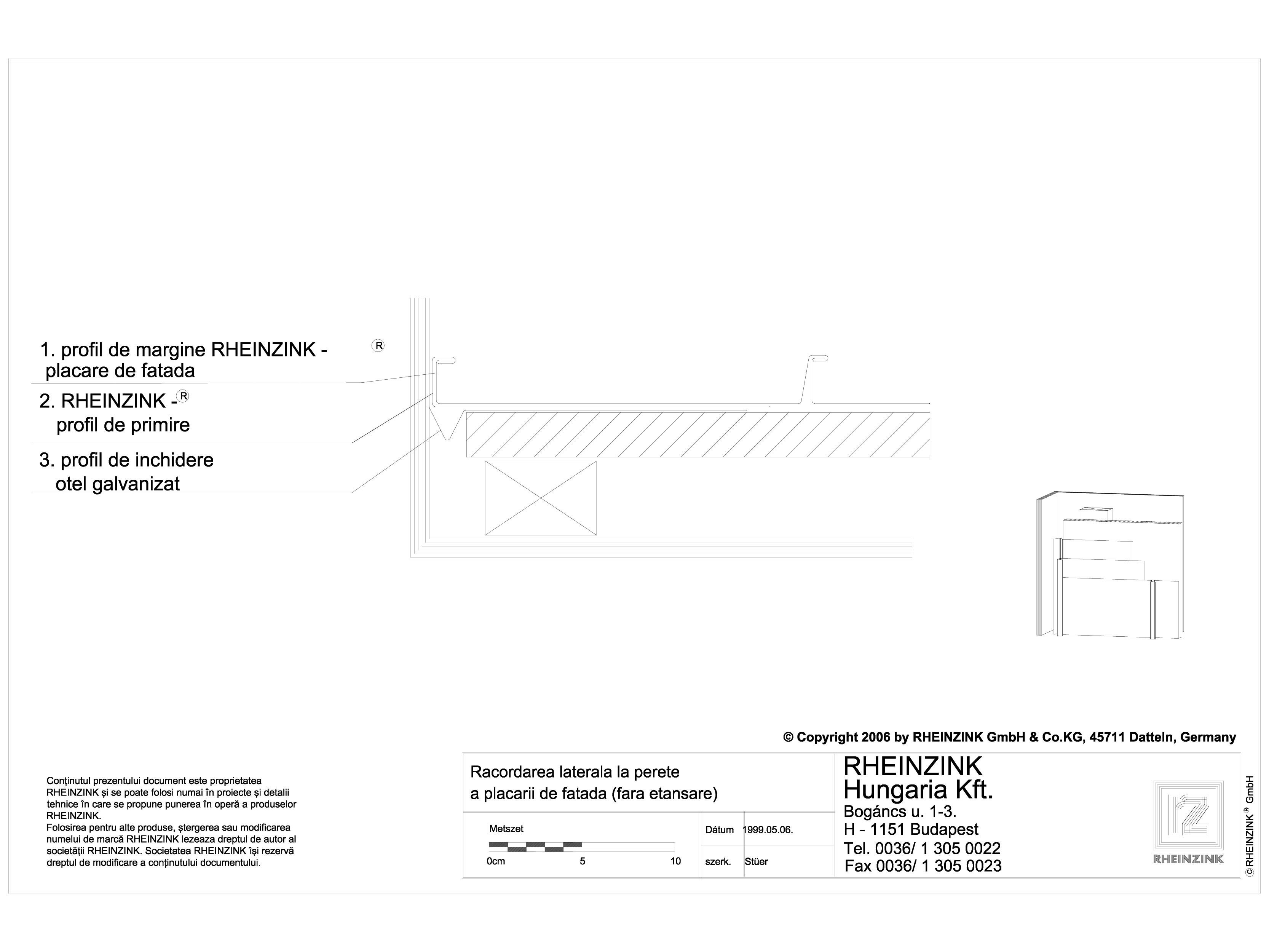Pagina 1 - CAD-DWG Racordarea laterala la perete a placarii de fatada fara etansare RHEINZINK...