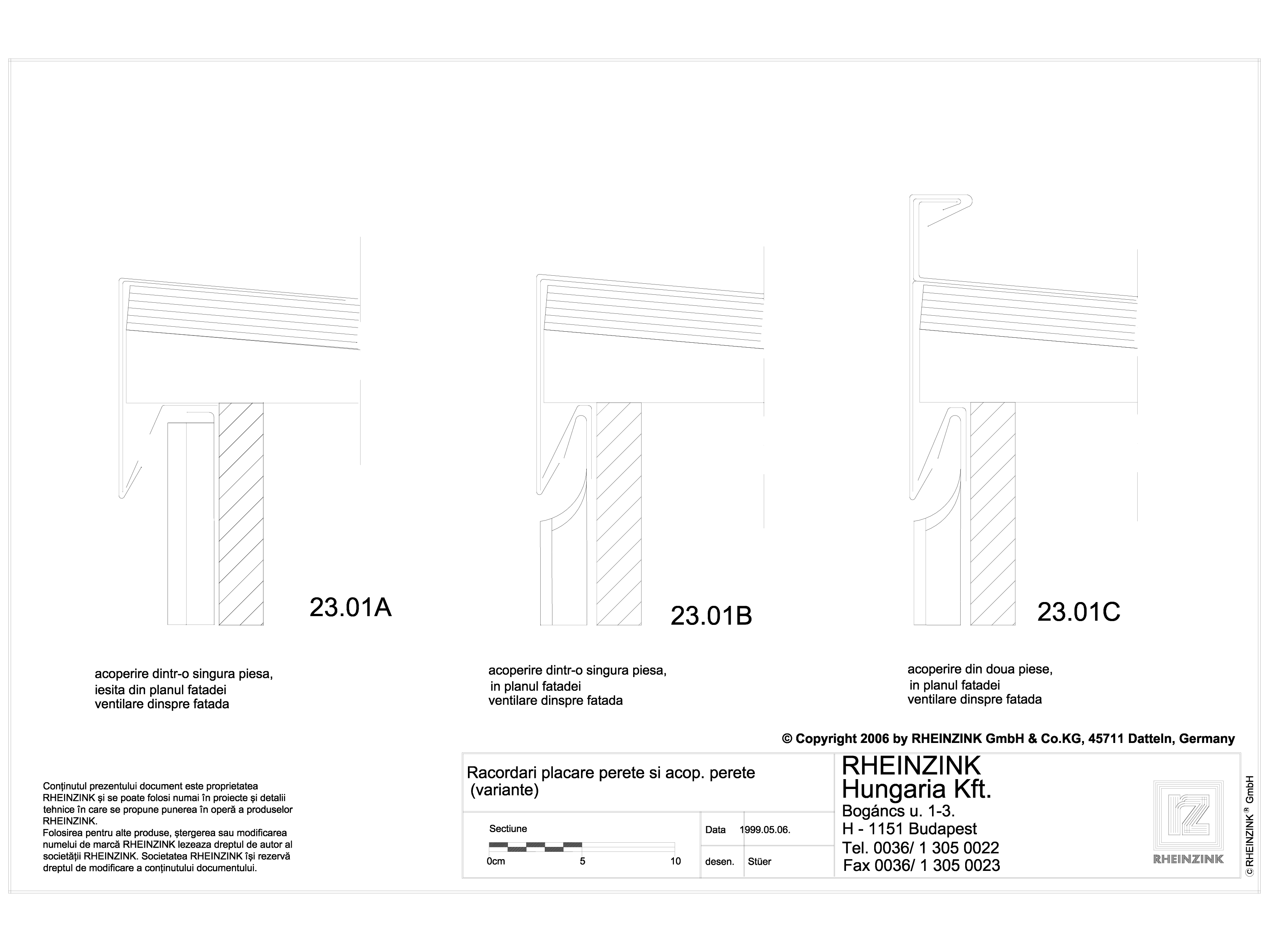 Pagina 1 - CAD-DWG Racordari placare perete si acoperire perete RHEINZINK Detaliu de montaj...
