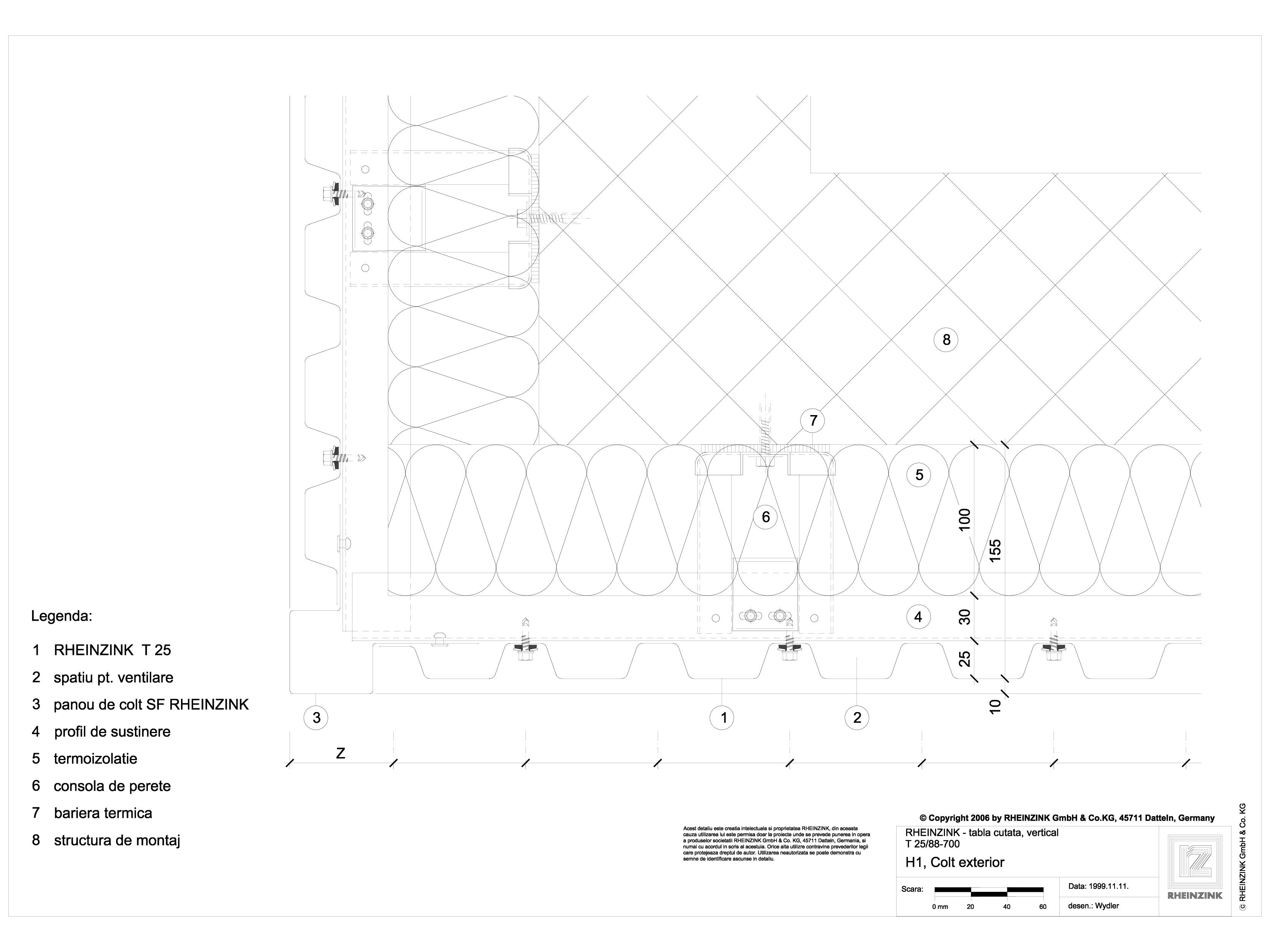 Pagina 1 - CAD-DWG Tabla cutata - H1 Colt exterior cu profil iesit din planul peretelui RHEINZINK...