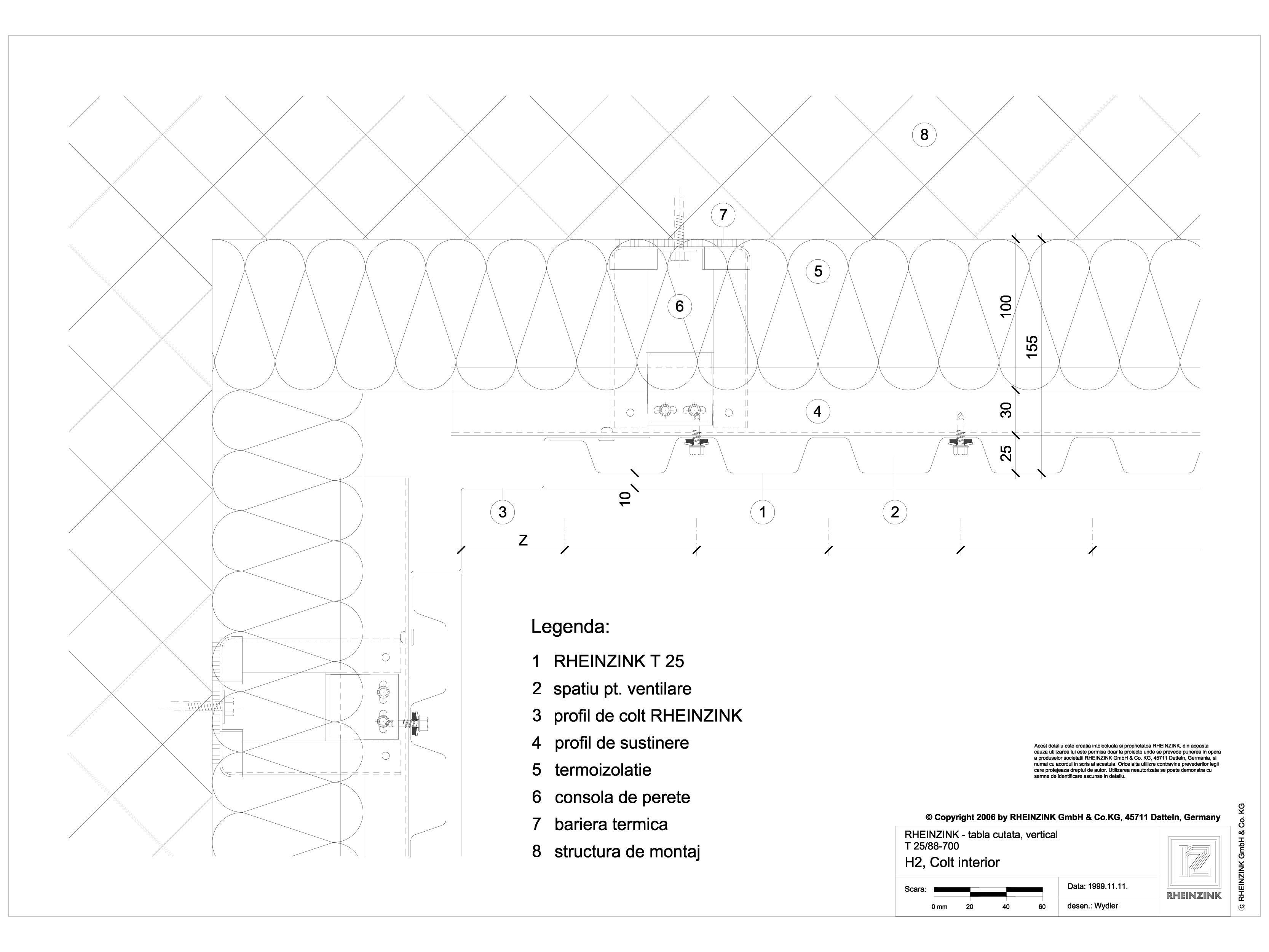 Pagina 1 - CAD-DWG Tabla cutata - H2 Colt interior cu profil iesit din planul peretelui RHEINZINK...