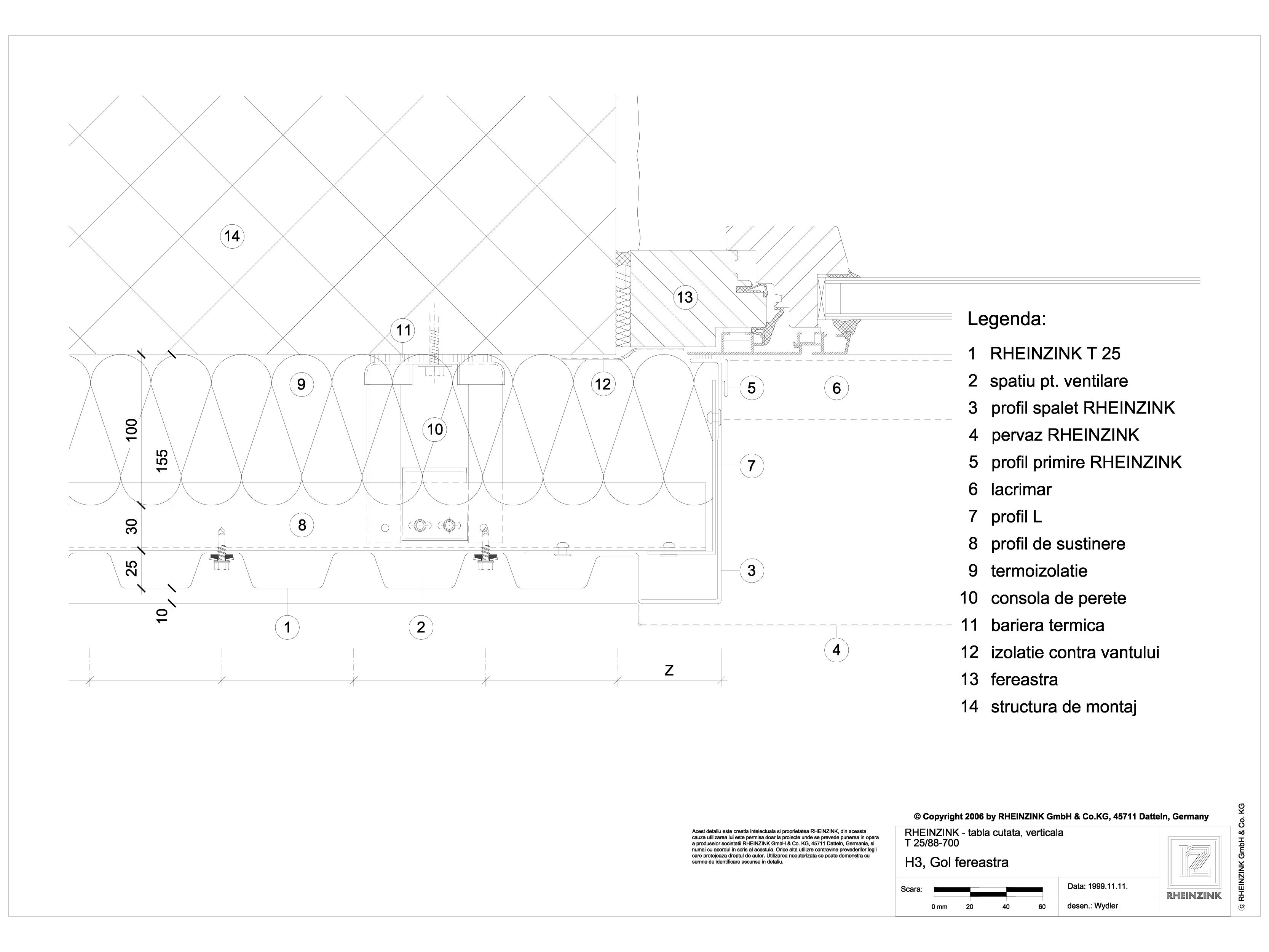 Pagina 1 - CAD-DWG Tabla cutata - H3 Gol fereastra cu profil iesit din planul peretelui RHEINZINK...