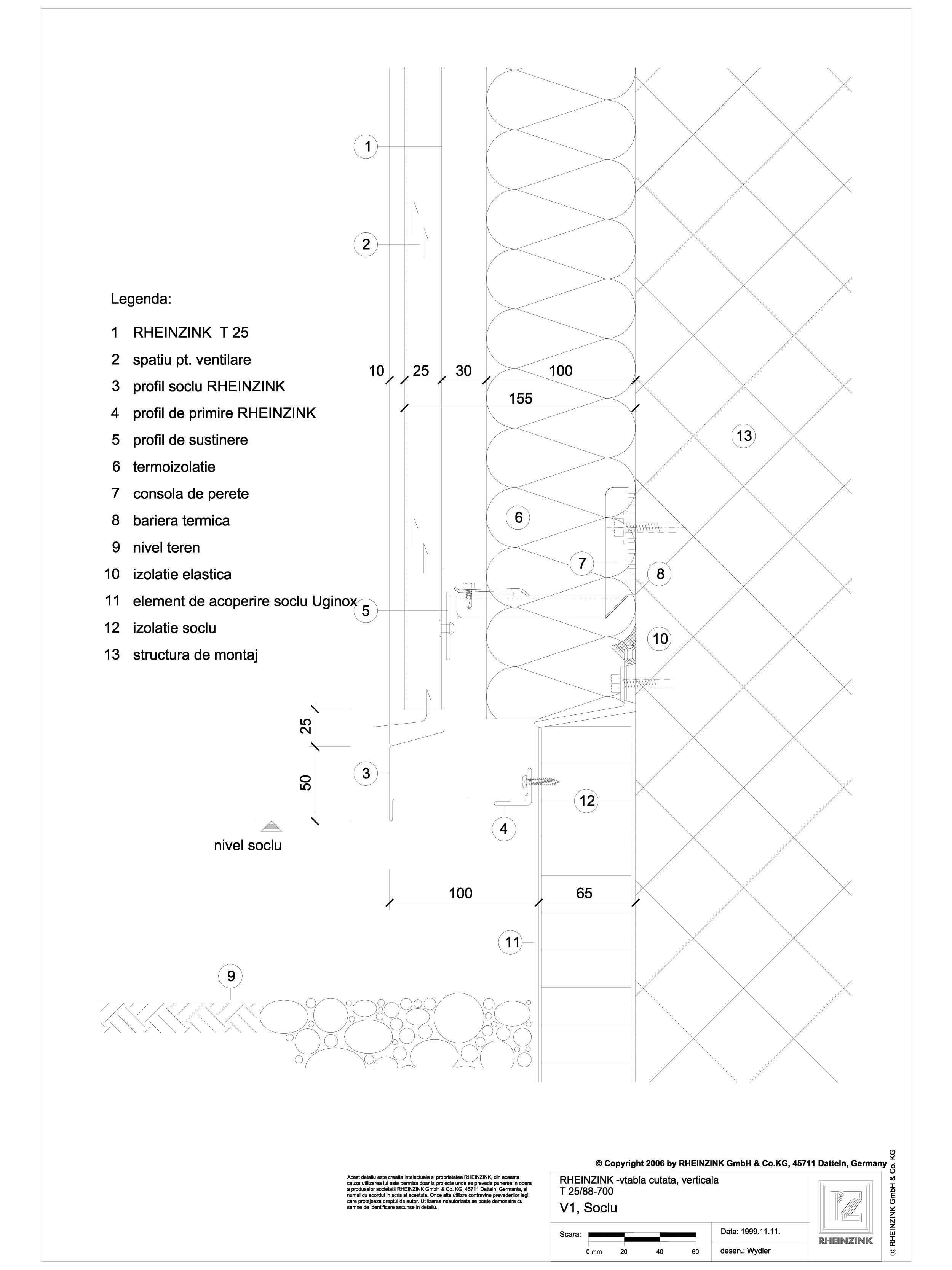 Pagina 1 - CAD-DWG Tabla cutata - V1 Soclu cu lacrimar cu sectiune dreptunghiulara RHEINZINK Detaliu...