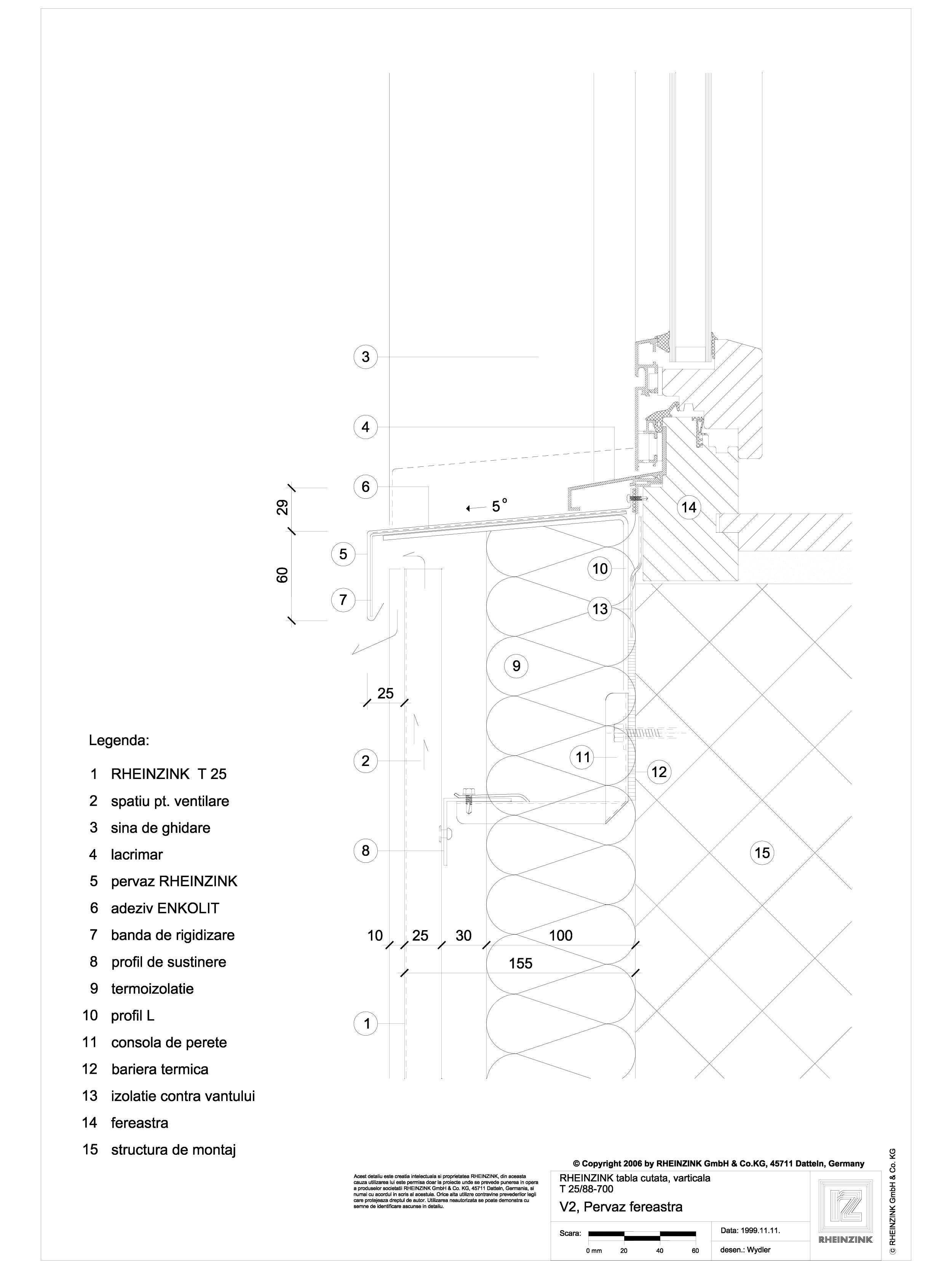 Pagina 1 - CAD-DWG Tabla cutata - V2 Pervaz fereastra cu profil iesit din planul peretelui RHEINZINK...